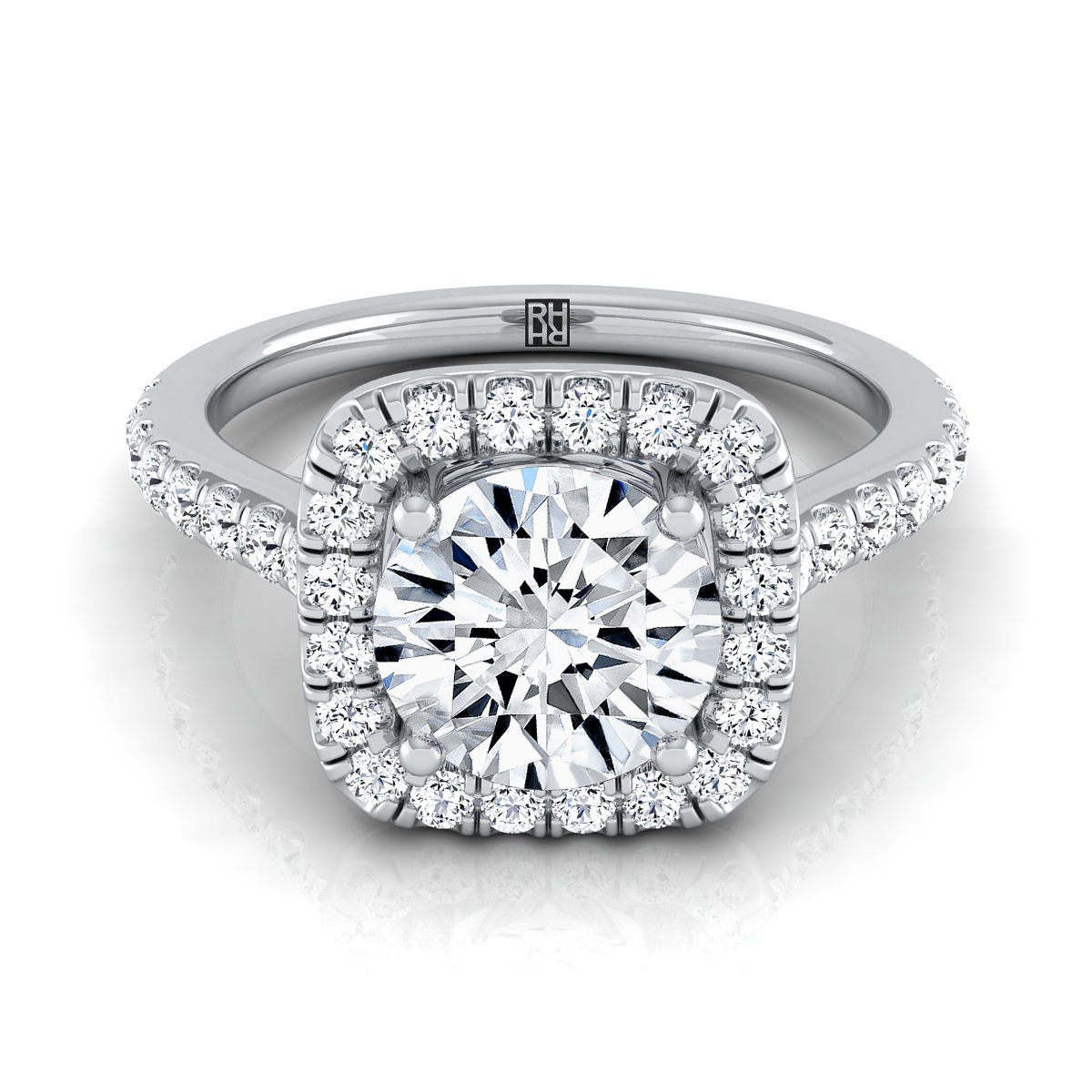 Diamond Square Halo Engagement Ring With Pave Shank In 14k White Gold (1/2 Ct.tw.)