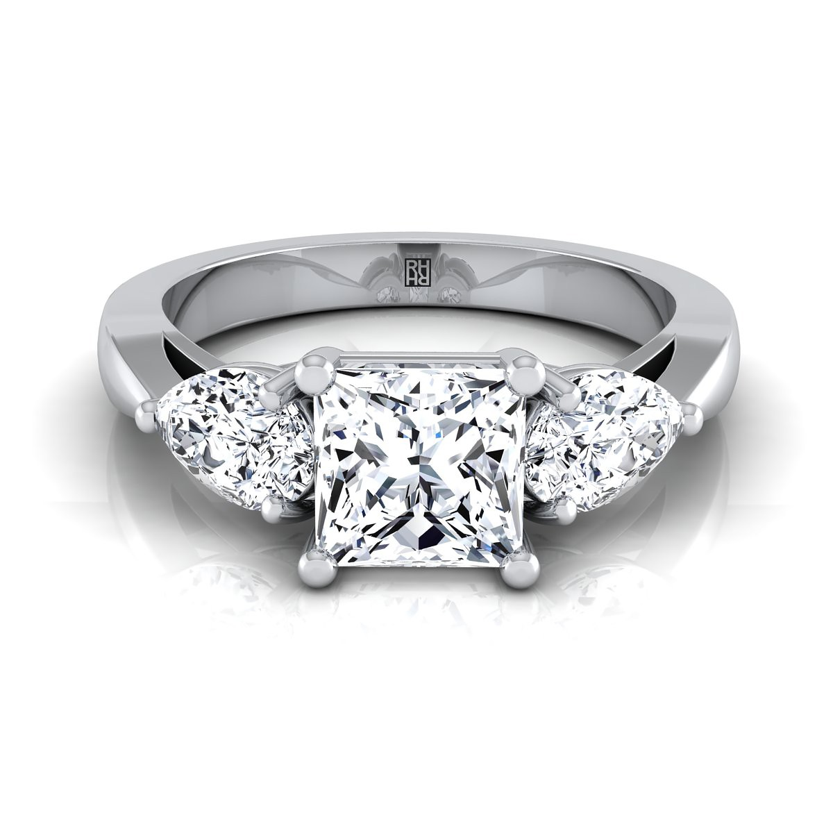 Princess Cut Center With Pear Shape Sides 3 Stone Engagement Ring In 14k  White Gold (1 Ct)