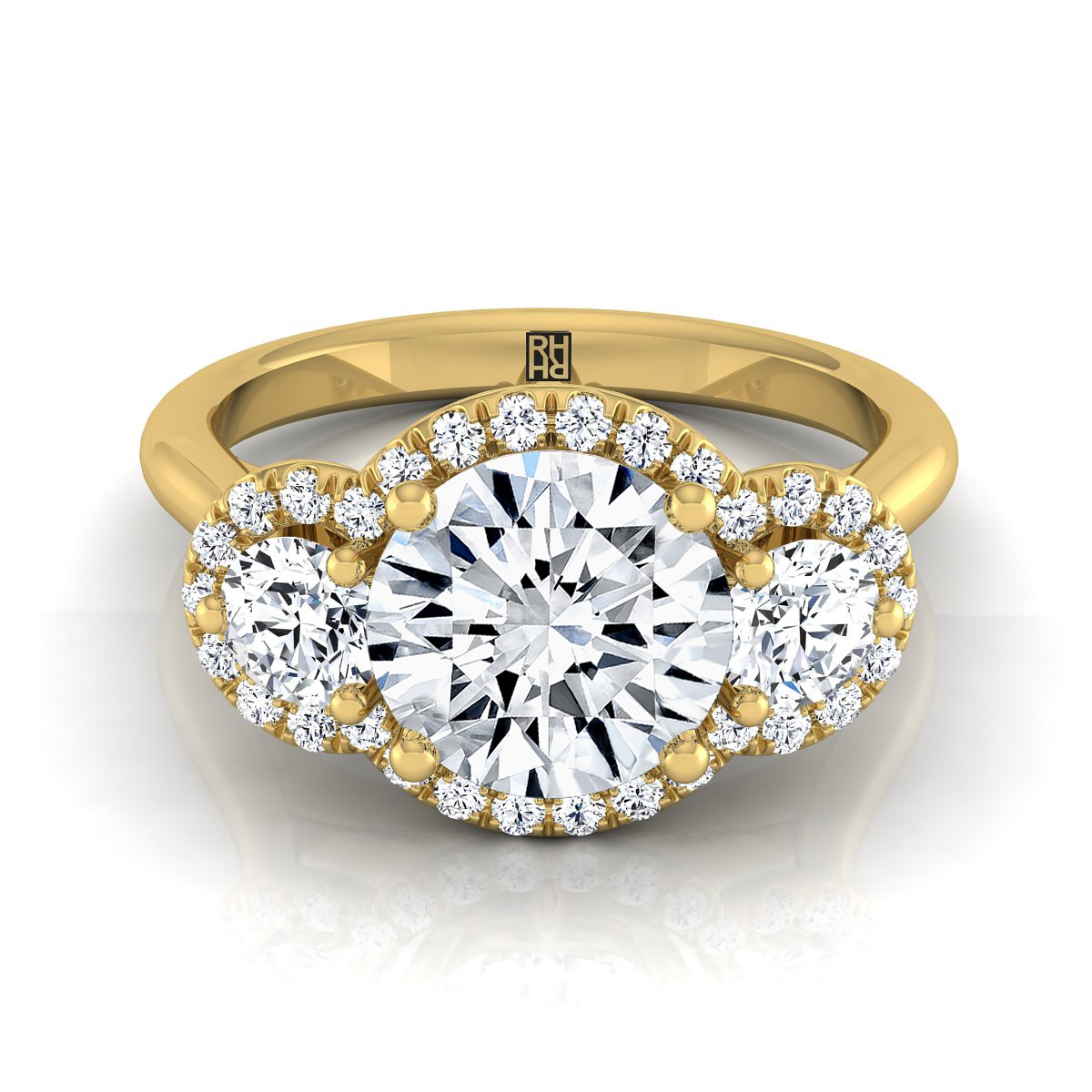 3 Stone Diamond Engagement Ring In 14k Yellow Gold (1/2 Ct.tw.)