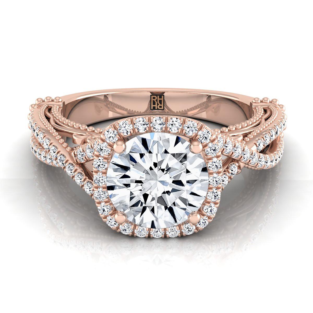 Diamond Halo Infinity Shank Ring In 14k Rose Gold (1/3 Ct.tw.)