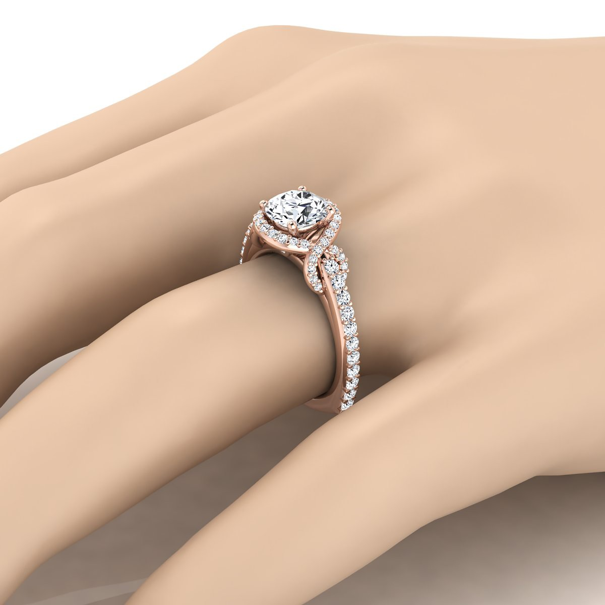 Diamond Engagement Ring With Love Knot Shank In 14k Rose Gold ( 5/8 Ct.tw.)