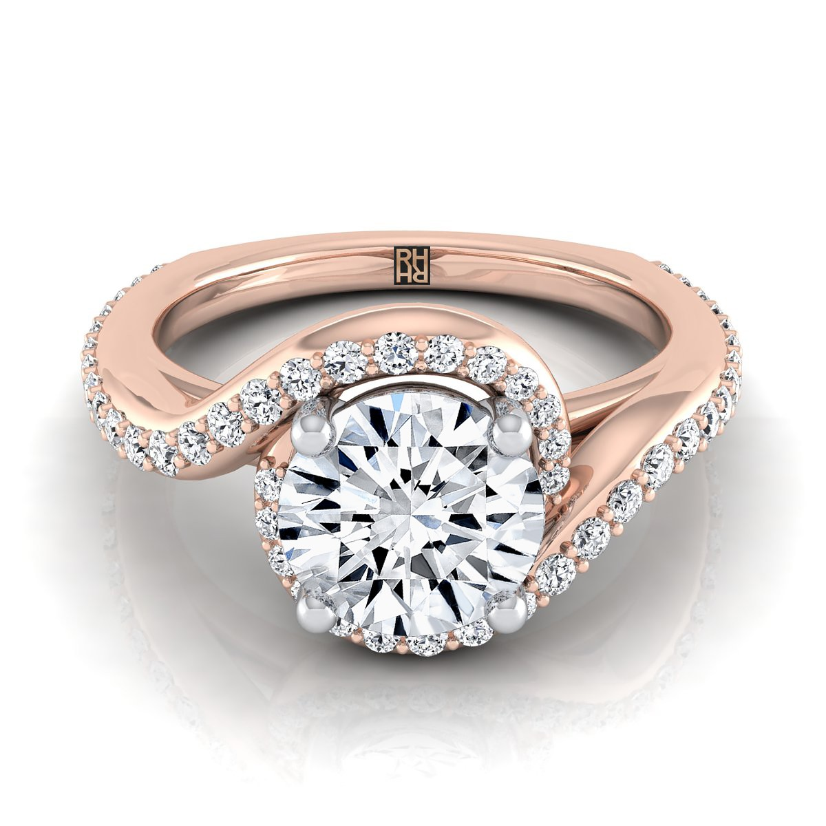 Diamond Pave Wave Design Engagement Ring In 14k Rose Gold (3/8 Ct.tw.)