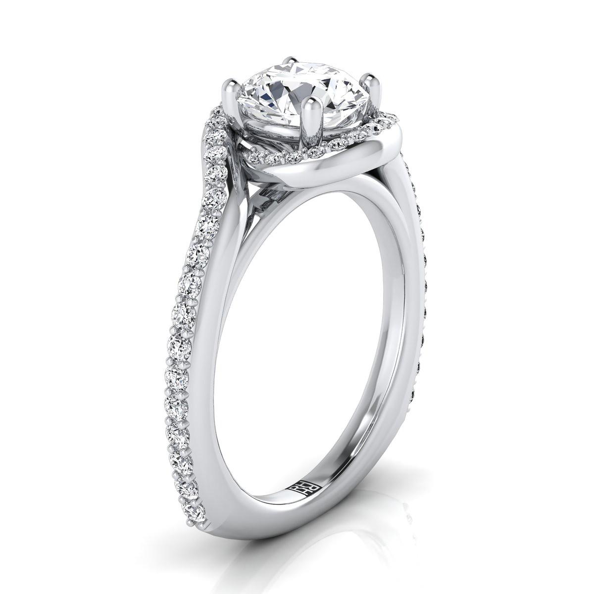 Round diamond halo engagement ring 14k white gold pave swirl shank diamond pave wave design engagement ring in 14k white gold 38 ct junglespirit Images