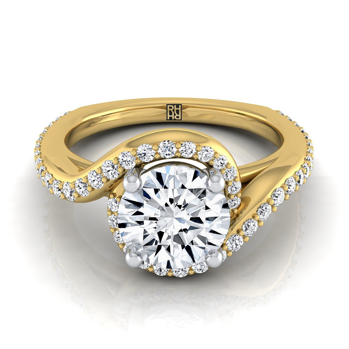 Diamond Pave Wave Design Engagement Ring In 14k Yellow  Gold (3/8 Ct.tw.)