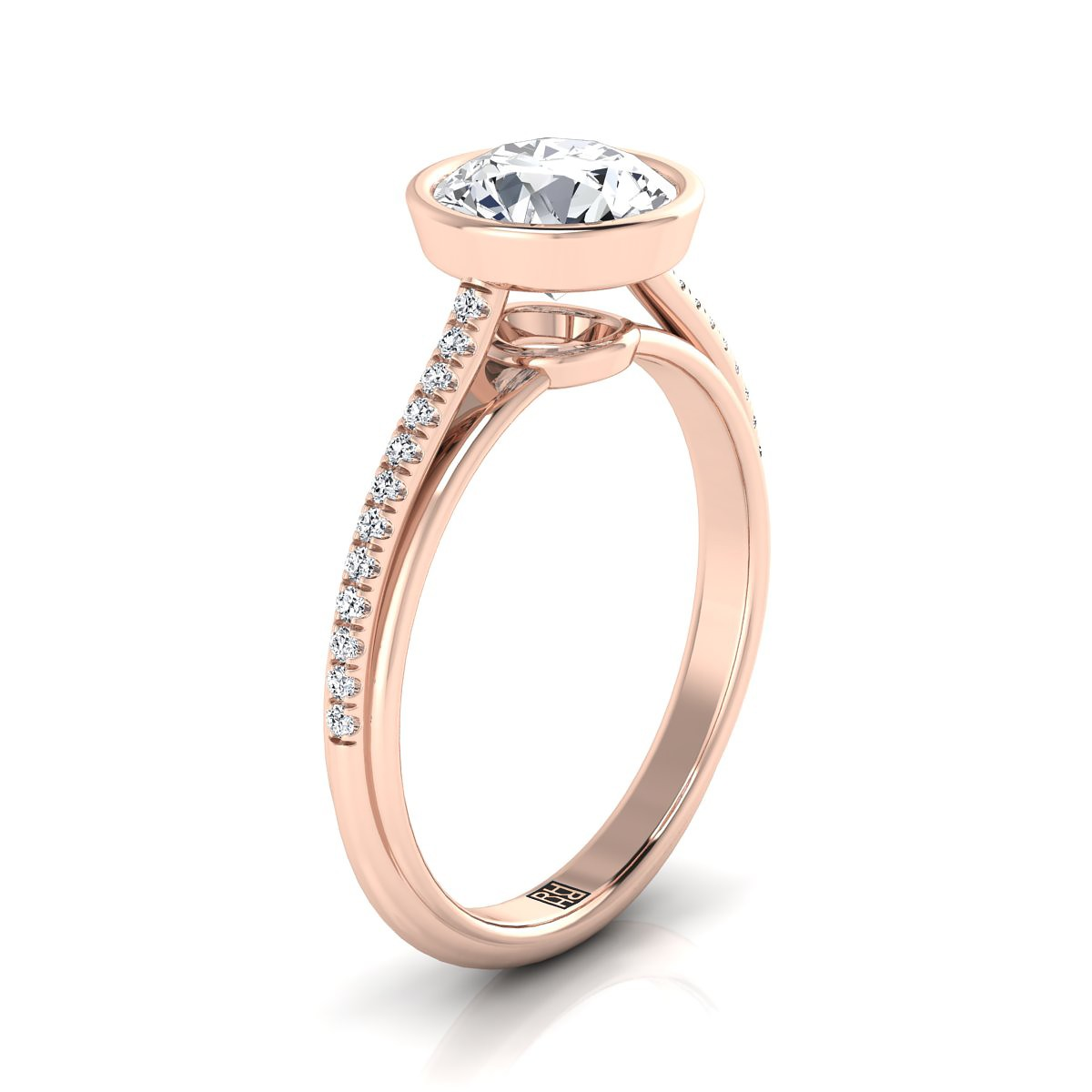 Diamond Bezel Solitaire Engagement Ring With Pave Shank In 14k Rose Gold (1/10 Ct.tw.)