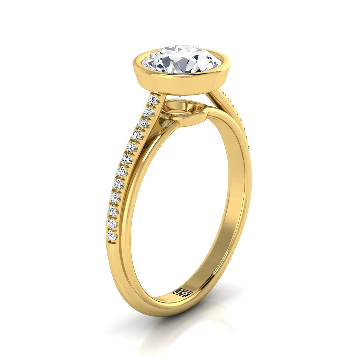 Diamond Bezel Solitaire Engagement Ring With Pave Shank In 14k Yellow Gold (1/10 Ct.tw.)