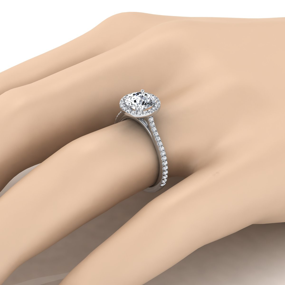 Diamond Halo Engagement Ring With Graduated Pave Shank In 14k White Gold (1/4 Ct.tw.)