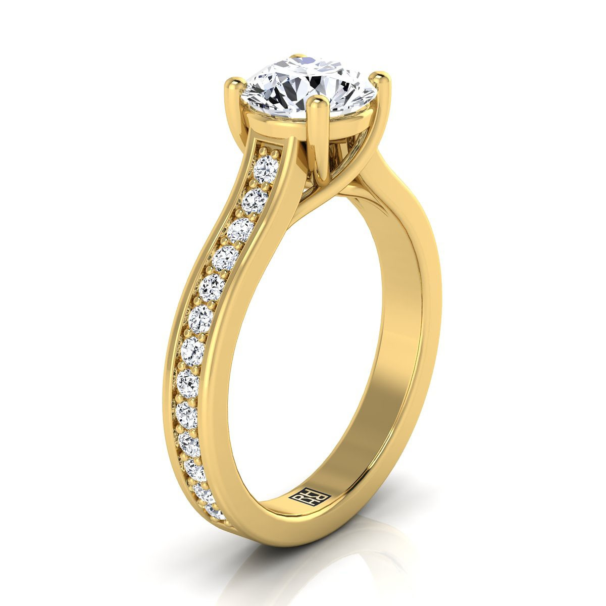 Diamond Solitaire Engagement Ring With Pave Shank In 14k Yellow Gold (1/3 Ct.tw.)