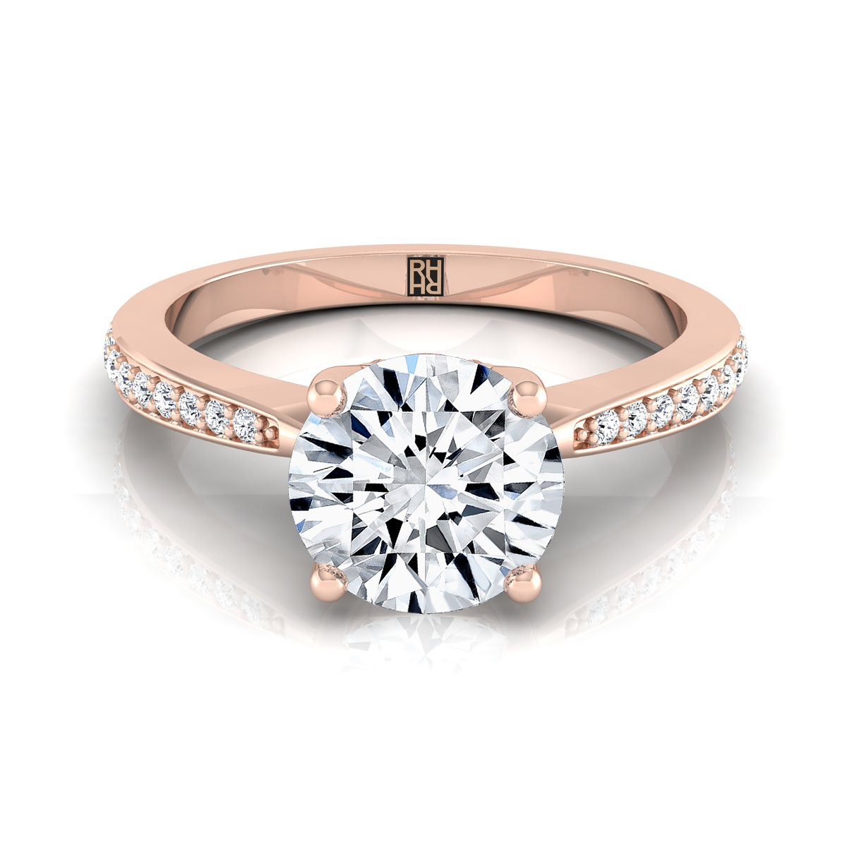 Diamond Solitaire Engagement Ring With Pave Shank In 14k Rose Gold (1/8 Ct.tw.)
