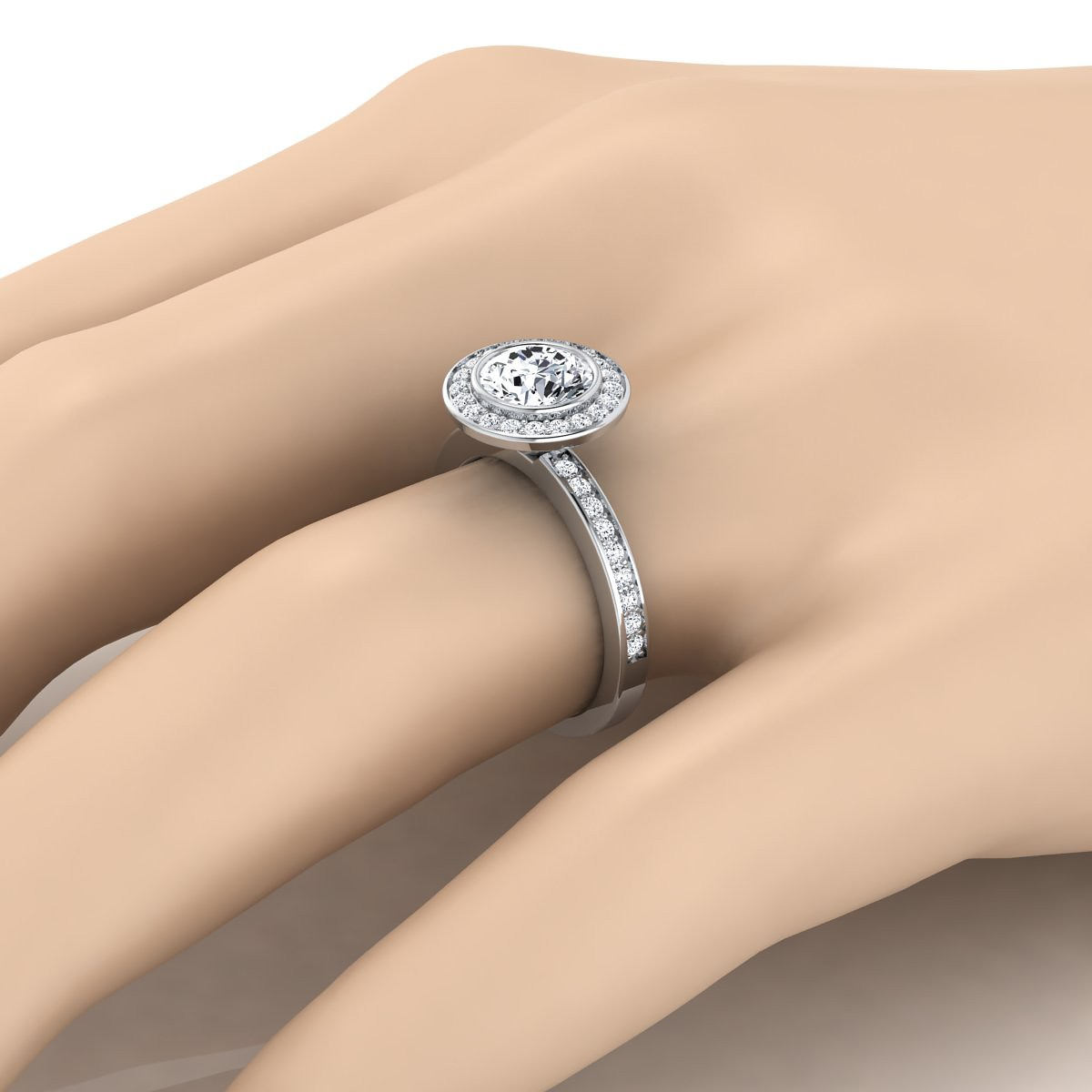 Diamond Halo Engagement Ring With Bezel Center In 14k White Gold (3/8 Ct.tw.)