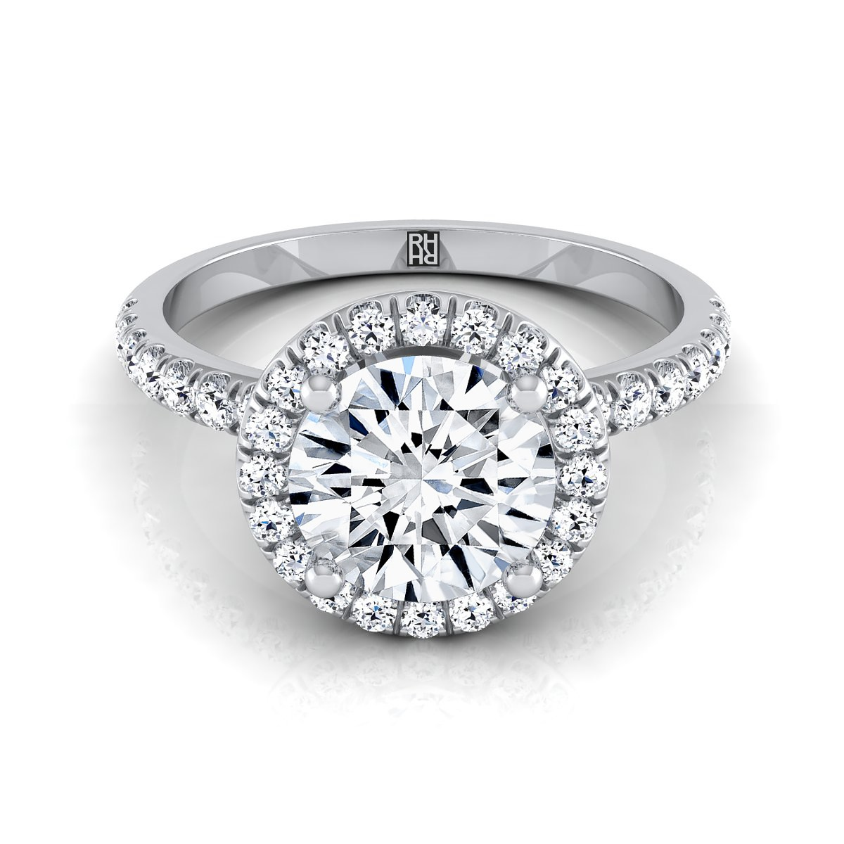 Diamond Round Halo Engagement Ring In 14k White Gold (1/3 Ct.tw.)