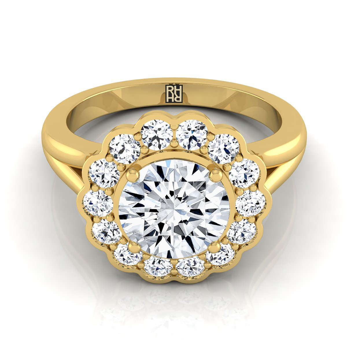 Diamond Halo Engagement Ring In 14k Yellow Gold (3/8 Ct.tw.)