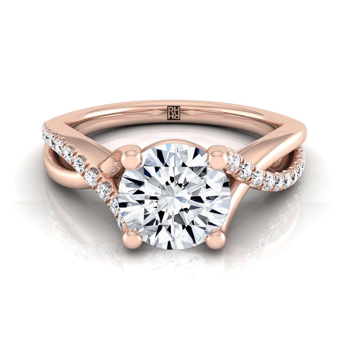 Diamond Engagement Ring With Pave Infinity Shank In 14k Rose Gold (1/6 Ct.tw.)