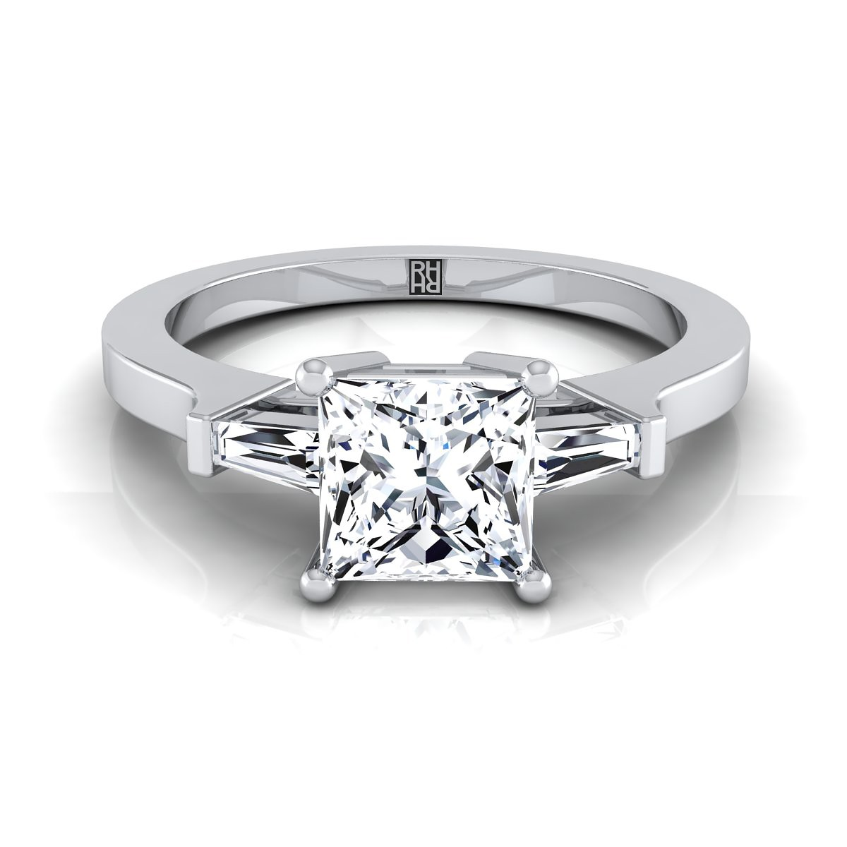 diamond engagement ring with princess cut center and tapered baguette side stones in 14k white gold 14 cttw - White Gold Princess Cut Wedding Rings