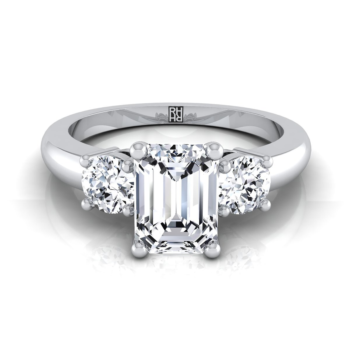 Diamond 3 Stone Engagement Ring With Emerald Cut Center And Round Side  Stones In 14k White Gold (1/4 Ct.tw.)