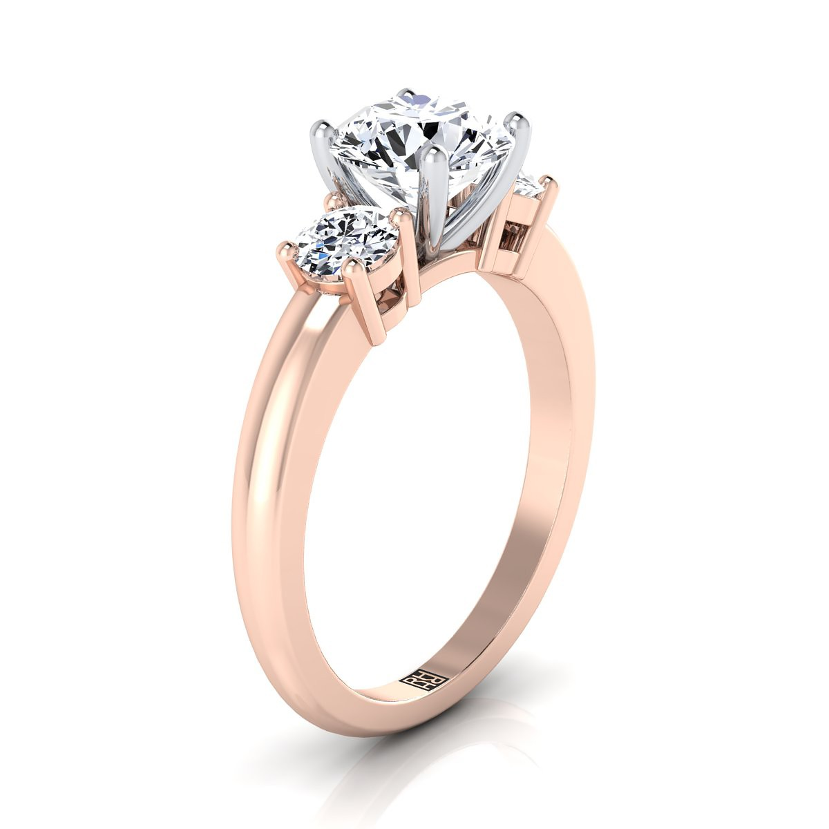 Diamond 3 Stone Engagement Ring In 14k Rose Gold (1/4 Ct.tw.)