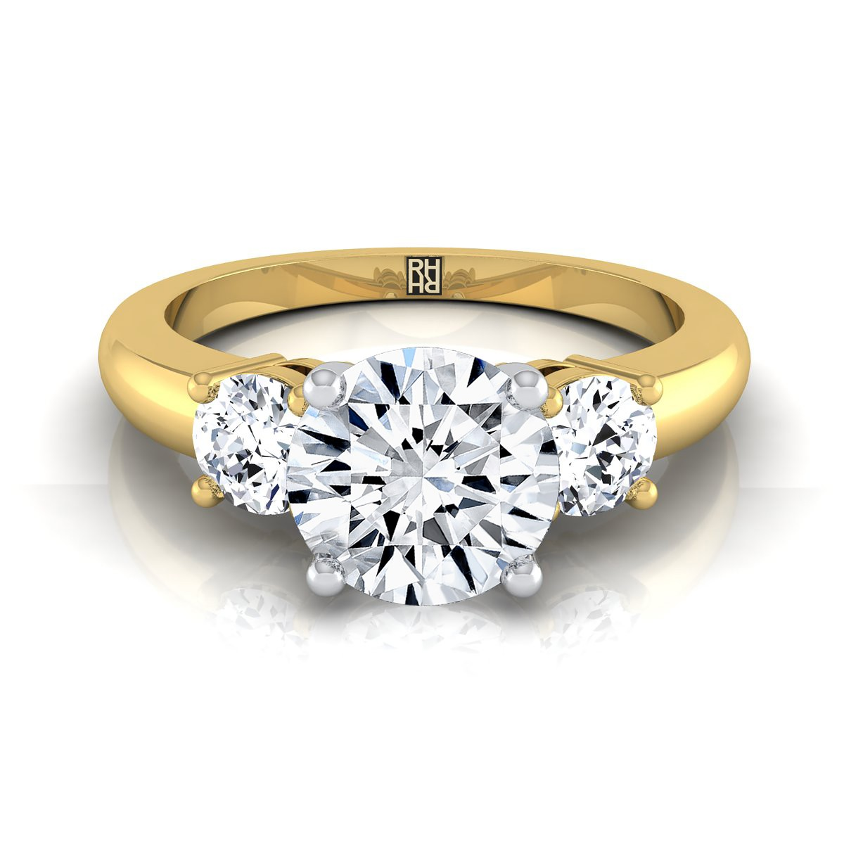 Diamond 3 Stone Engagement Ring In 14k Yellow Gold (1/4 Ct.tw.)