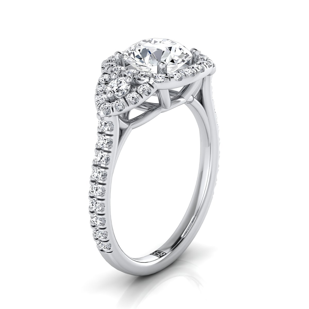 3 Stone Engagement Ring With Diamond Pave Shank In 14k White Gold (2/3 Ct.tw.)