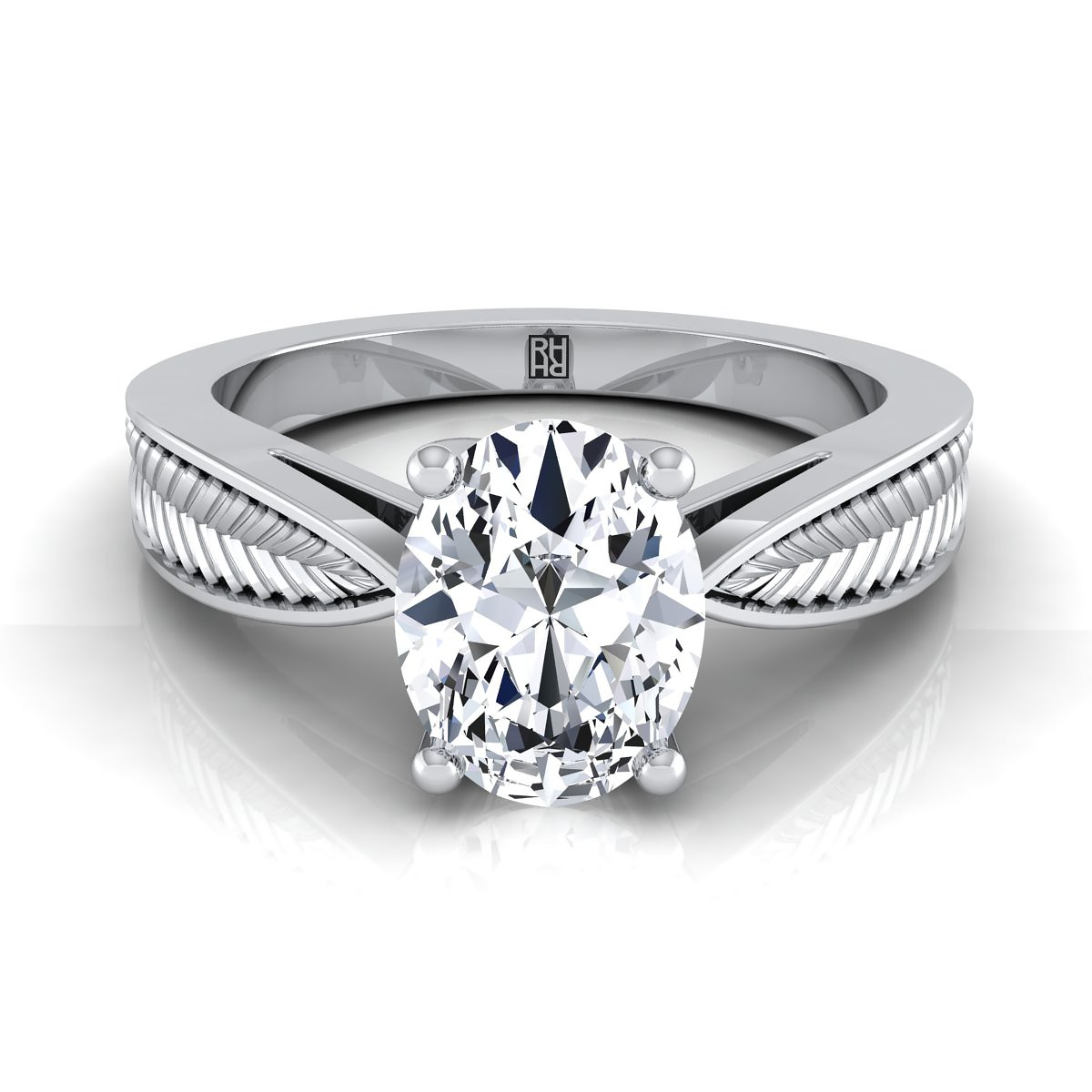 Classic 4 Prong Oval Diamond Engagement Ring With Leaf Texture Design In  14k White Gold