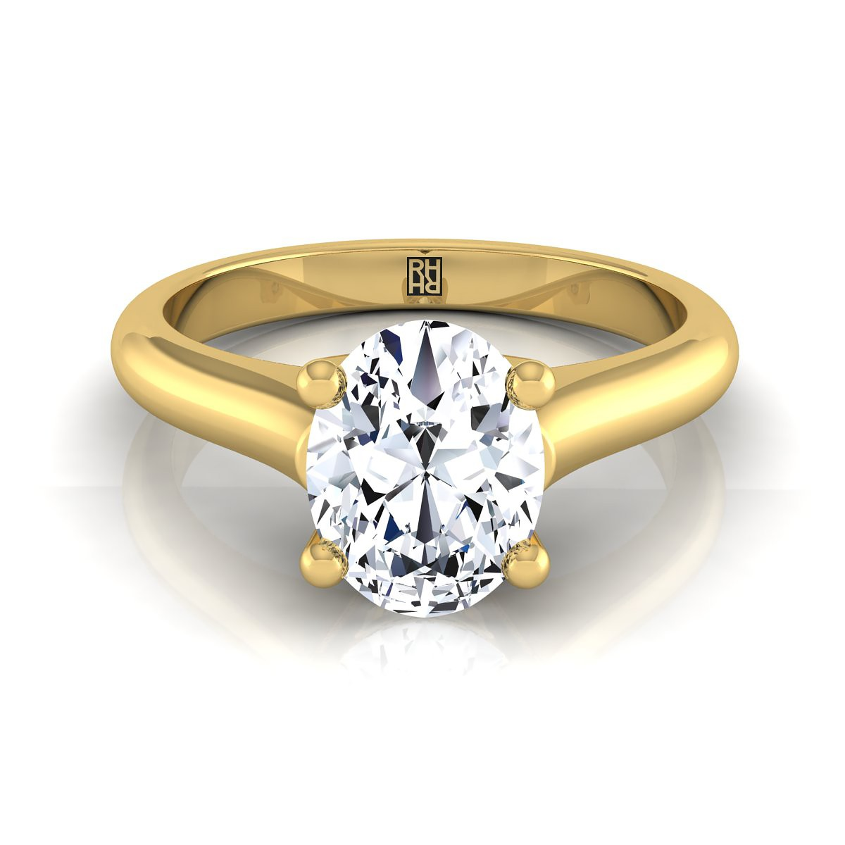 Oval Diamond Solitaire Engagement Ring With Rounded Shank And Cathedral  Setting In 14k Yellow Gold