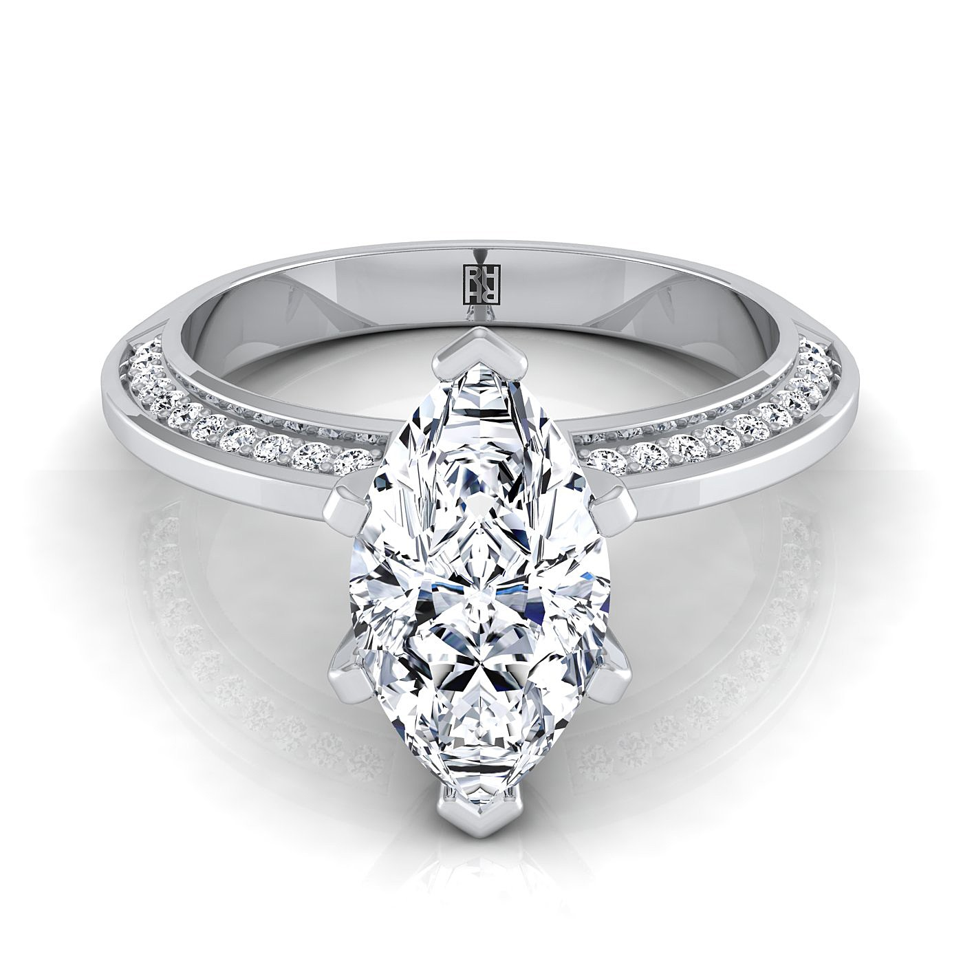 marquise engagement ring with knife edge pave gallery in 14k white gold - Marquise Wedding Rings