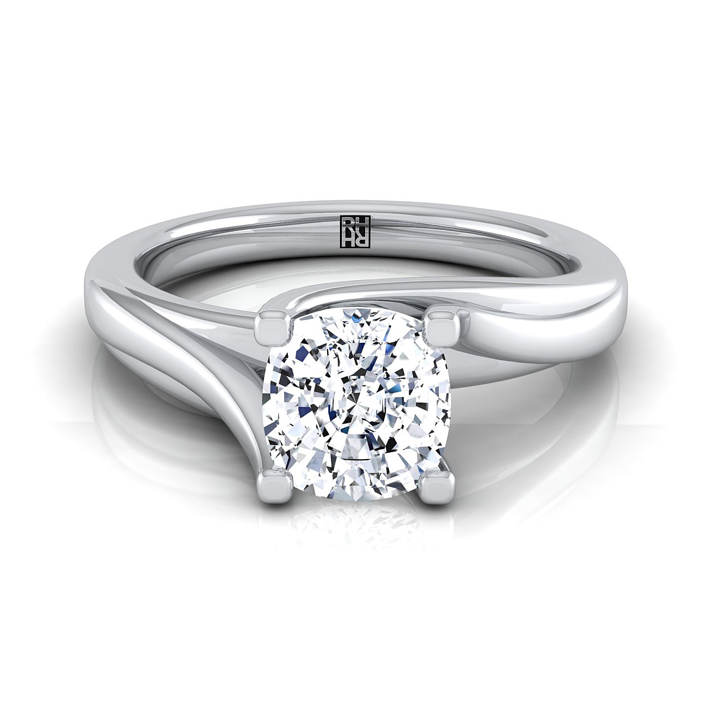 Cushion Diamond Twisted Bypass Solitaire Engagement Ring in 14k