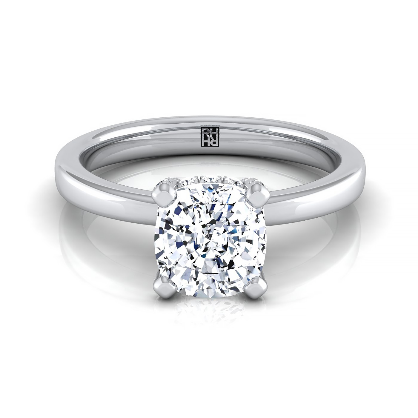 cushion diamond pave basket set solitaire engagement ring in 14k