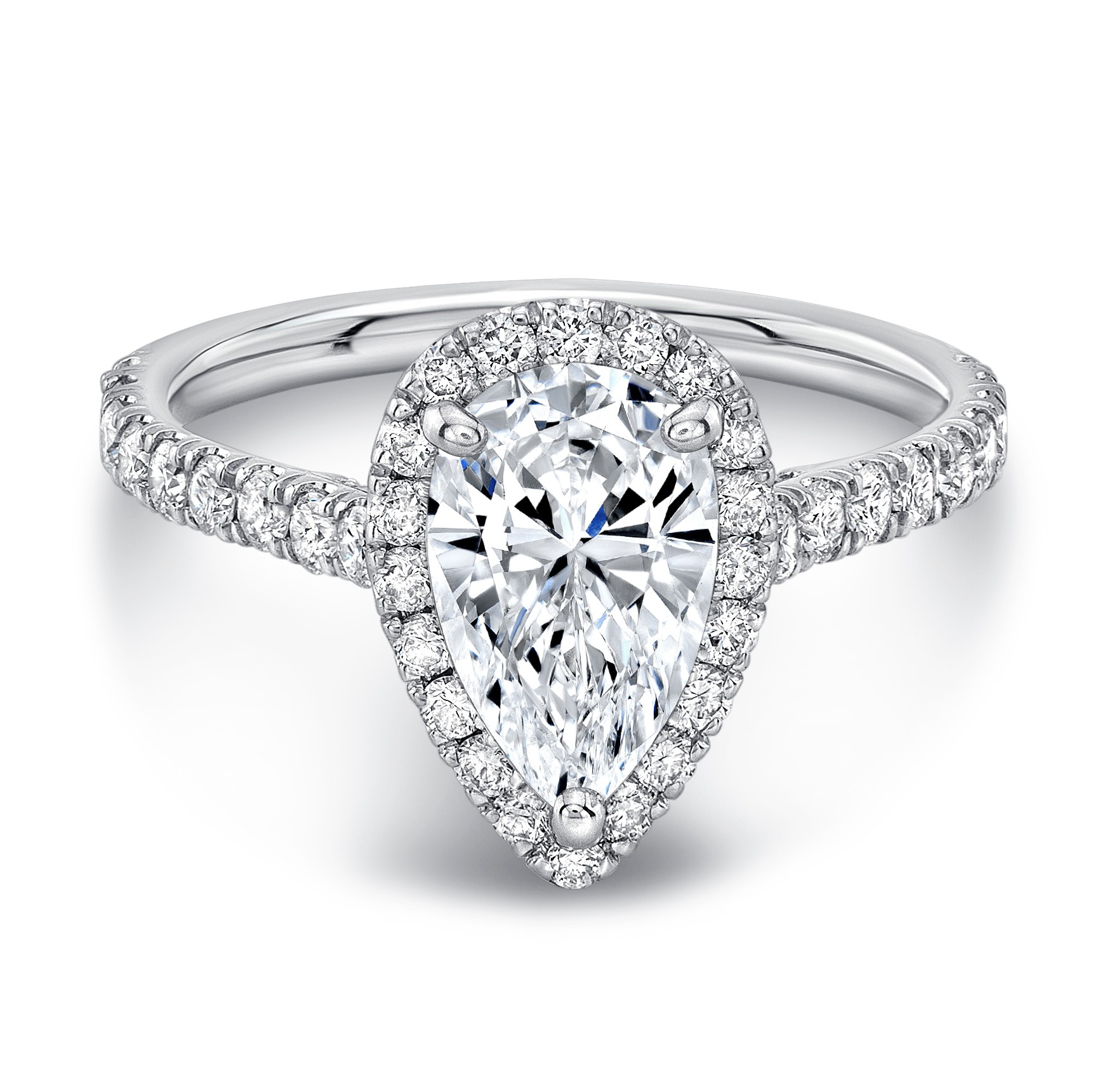 Preset 1 Carat G si2 Pear Shape Halo Diamond Engagement Ring With