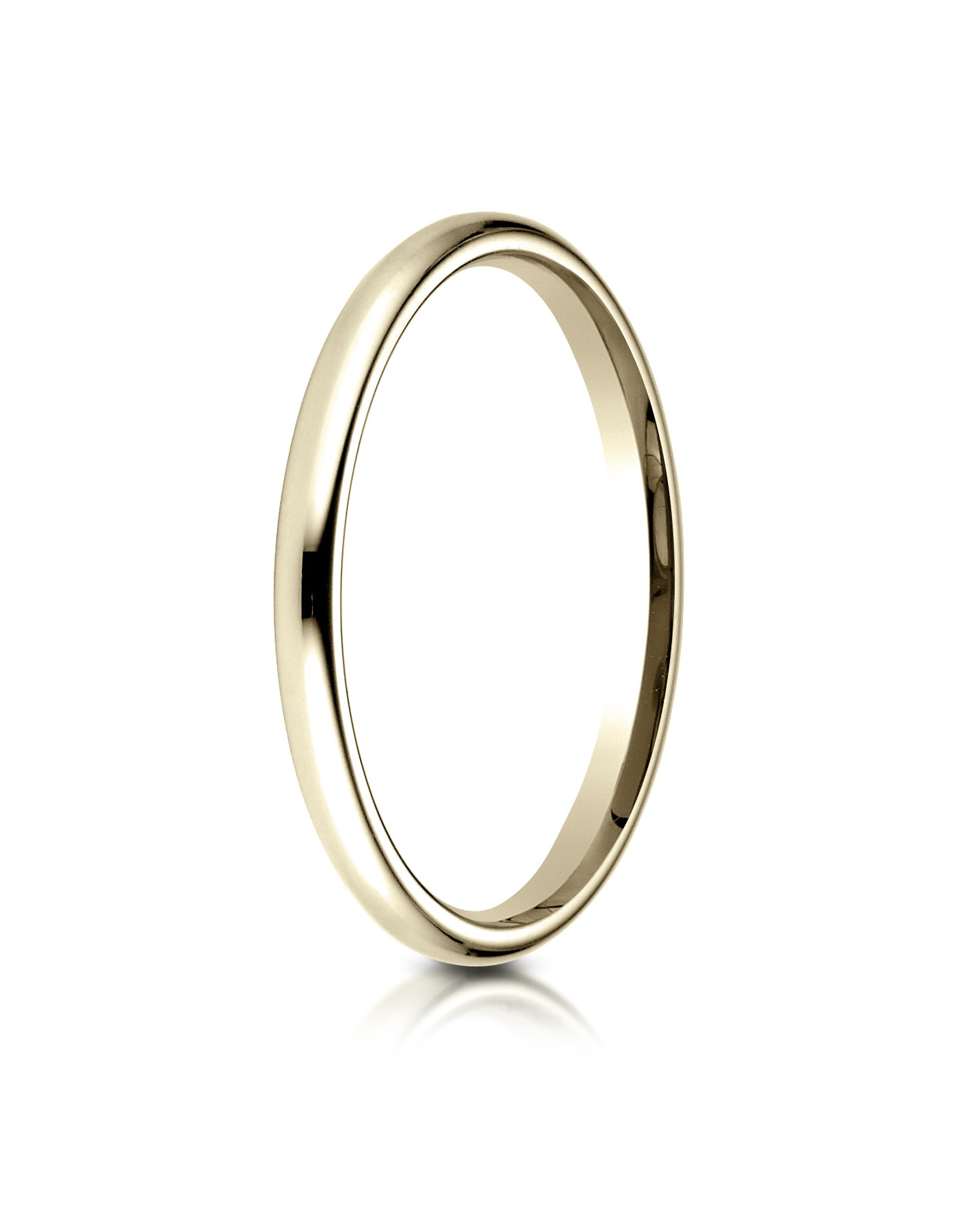 14k Yellow Gold 2 Mm Slightly Domed Standard Comfort-fit Ring