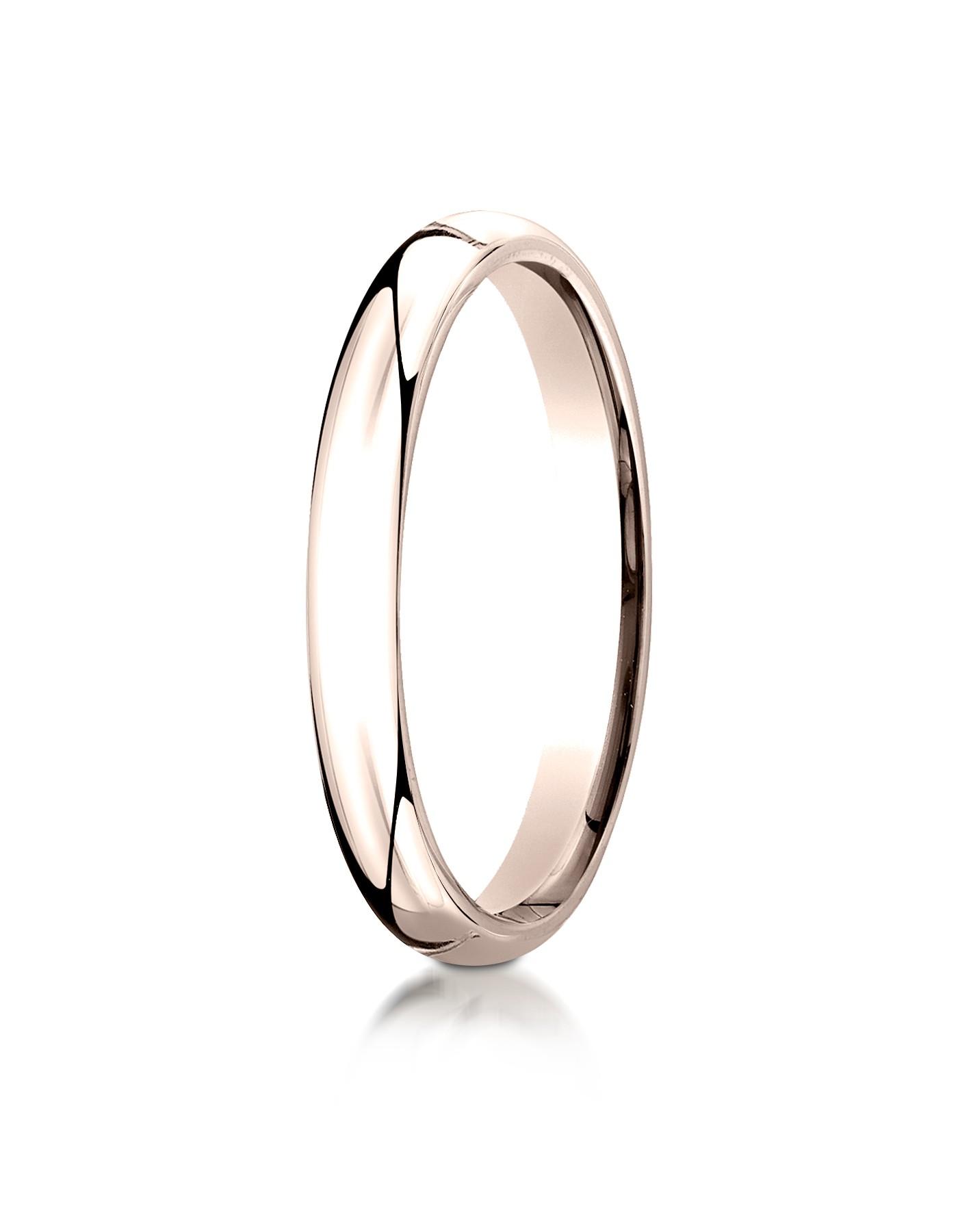 14k Rose Gold 3mm Slightly Domed Standard Comfort-fit Ring