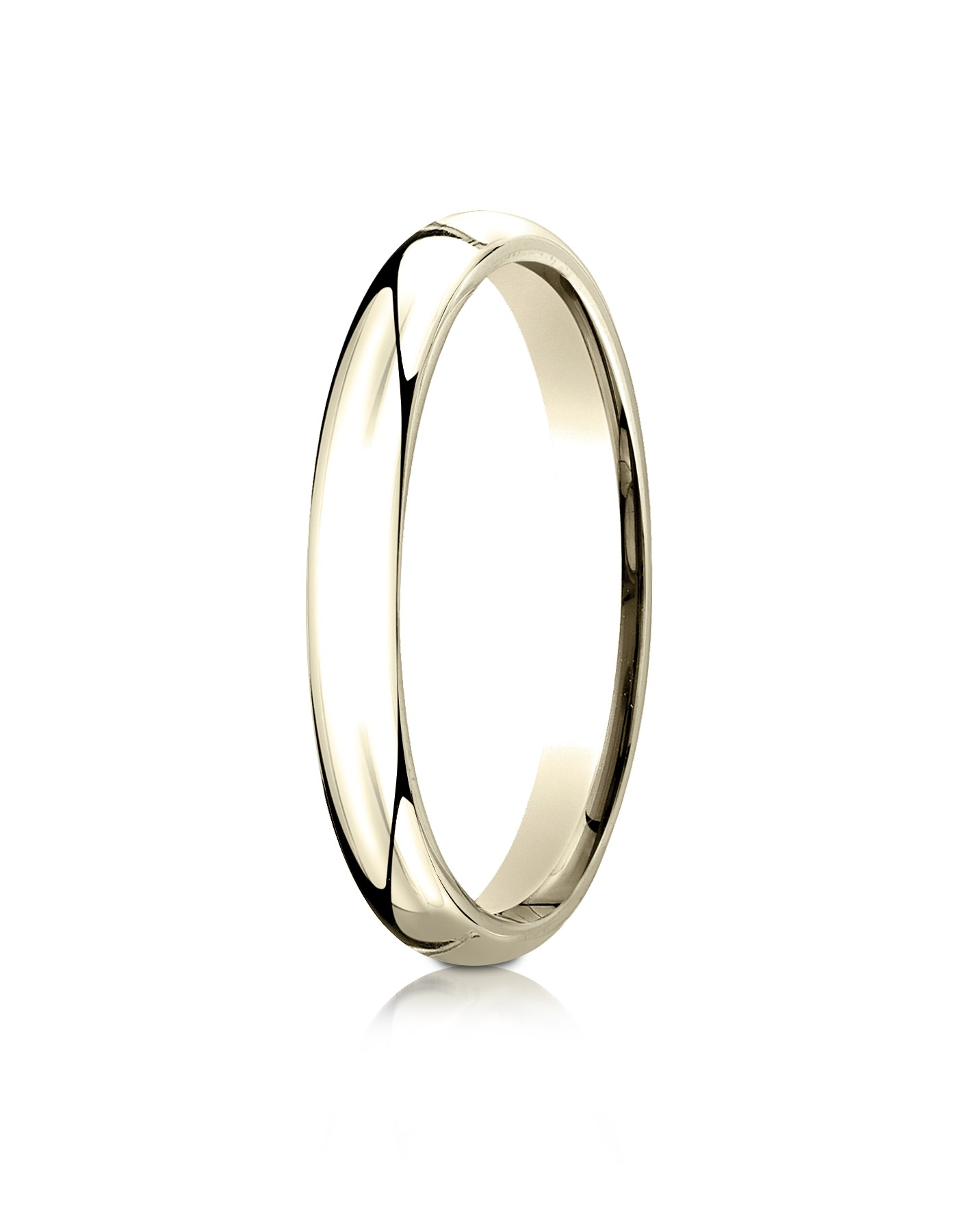 14k Yellow Gold 3mm Slightly Domed Standard Comfort-fit Ring