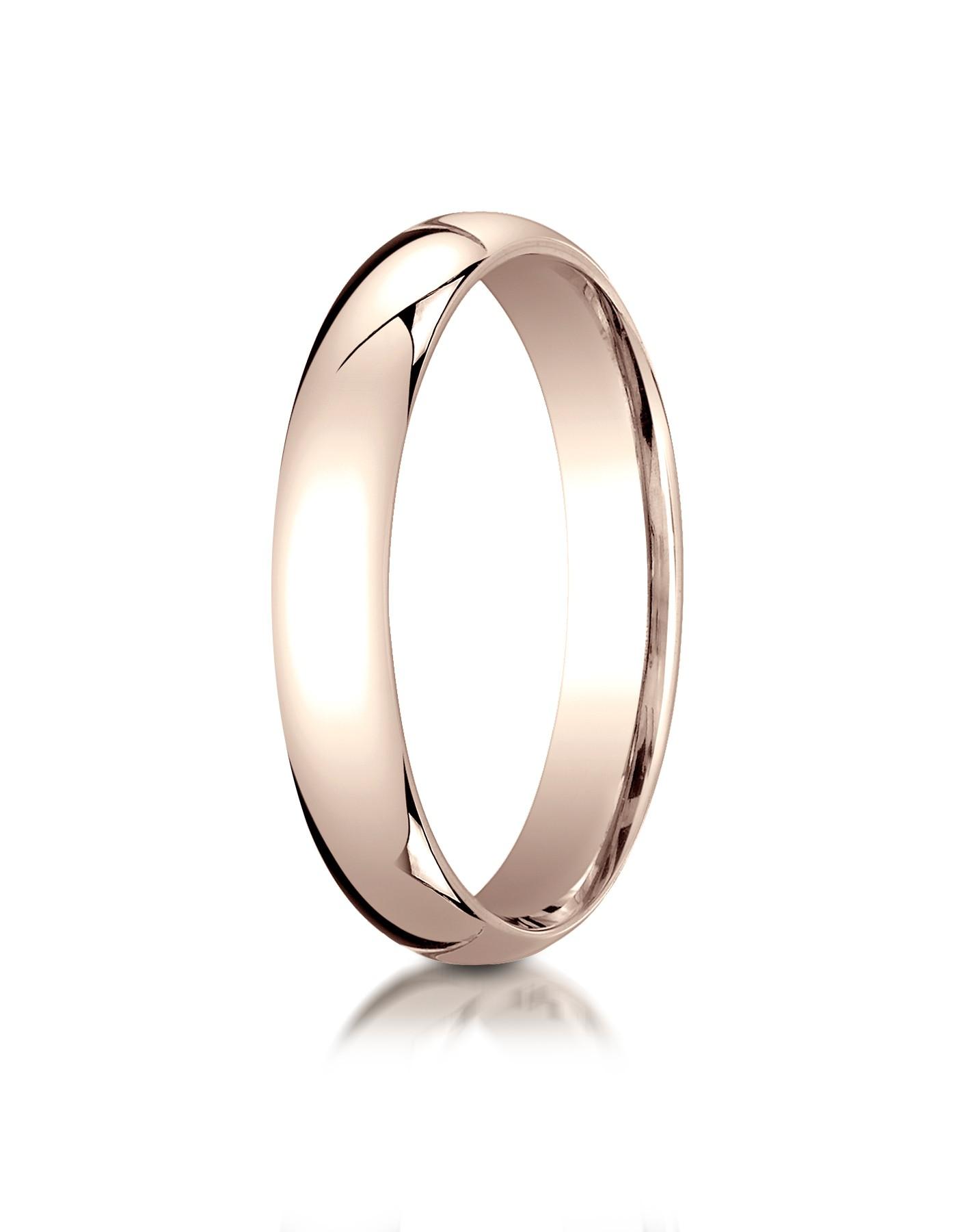 14k Rose Gold 4mm Slightly Domed Standard Comfort-fit Ring