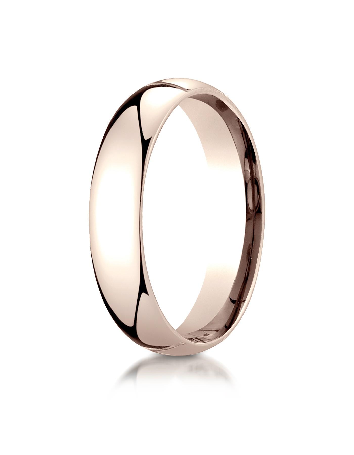14k Rose Gold 5mm Slightly Domed Standard Comfort-fit Ring