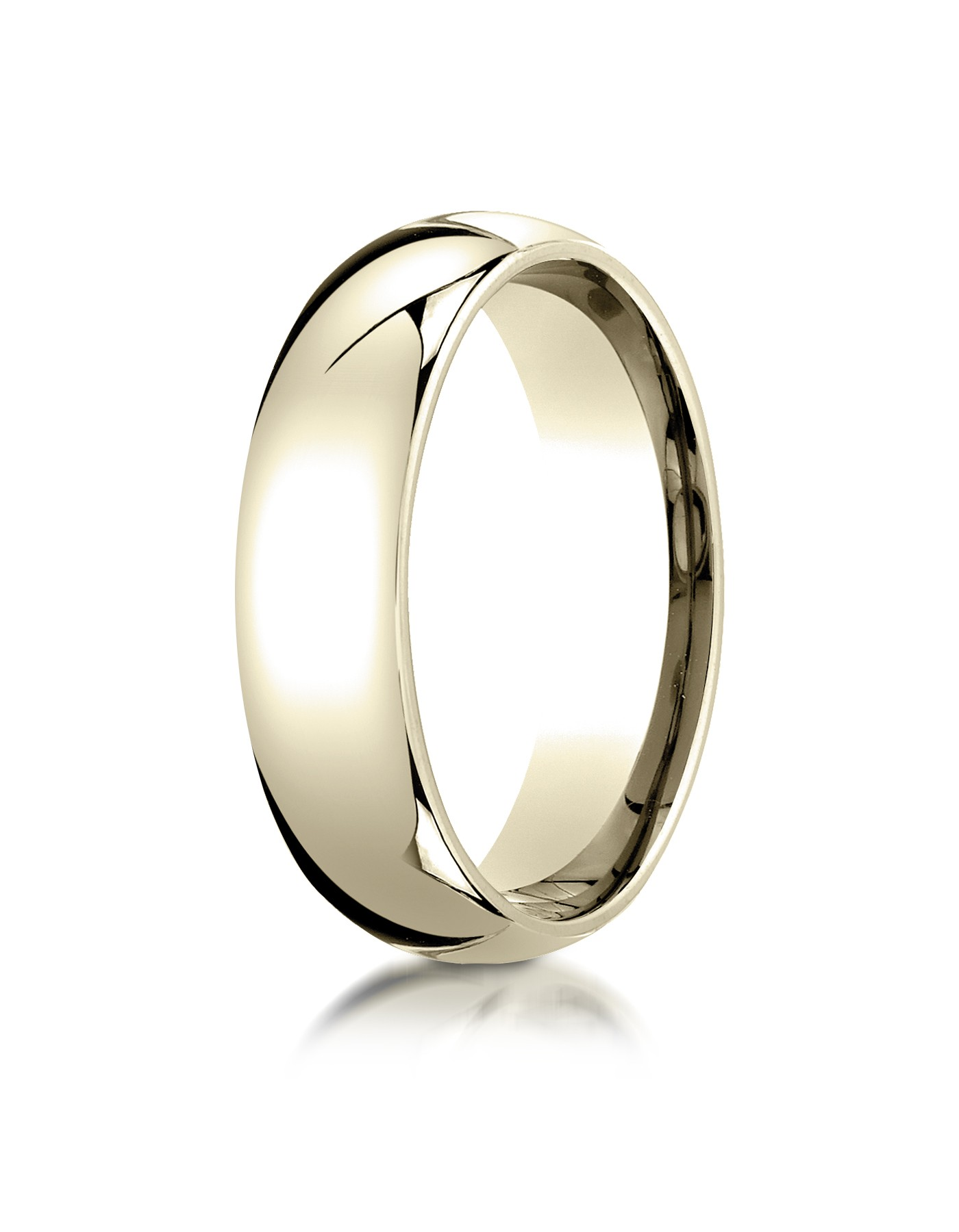 18k Yellow Gold 6mm Slightly Domed Standard Comfort-fit Ring
