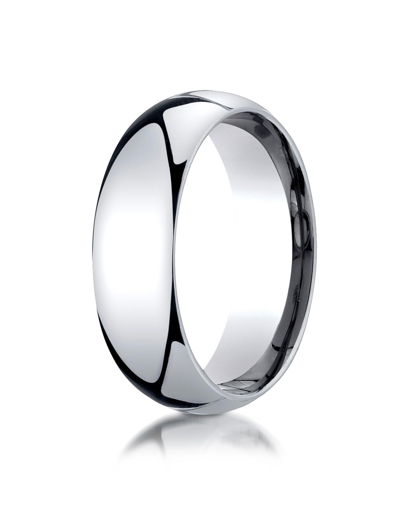 14k White Gold 7mm Slightly Domed Standard Comfort-fit Ring