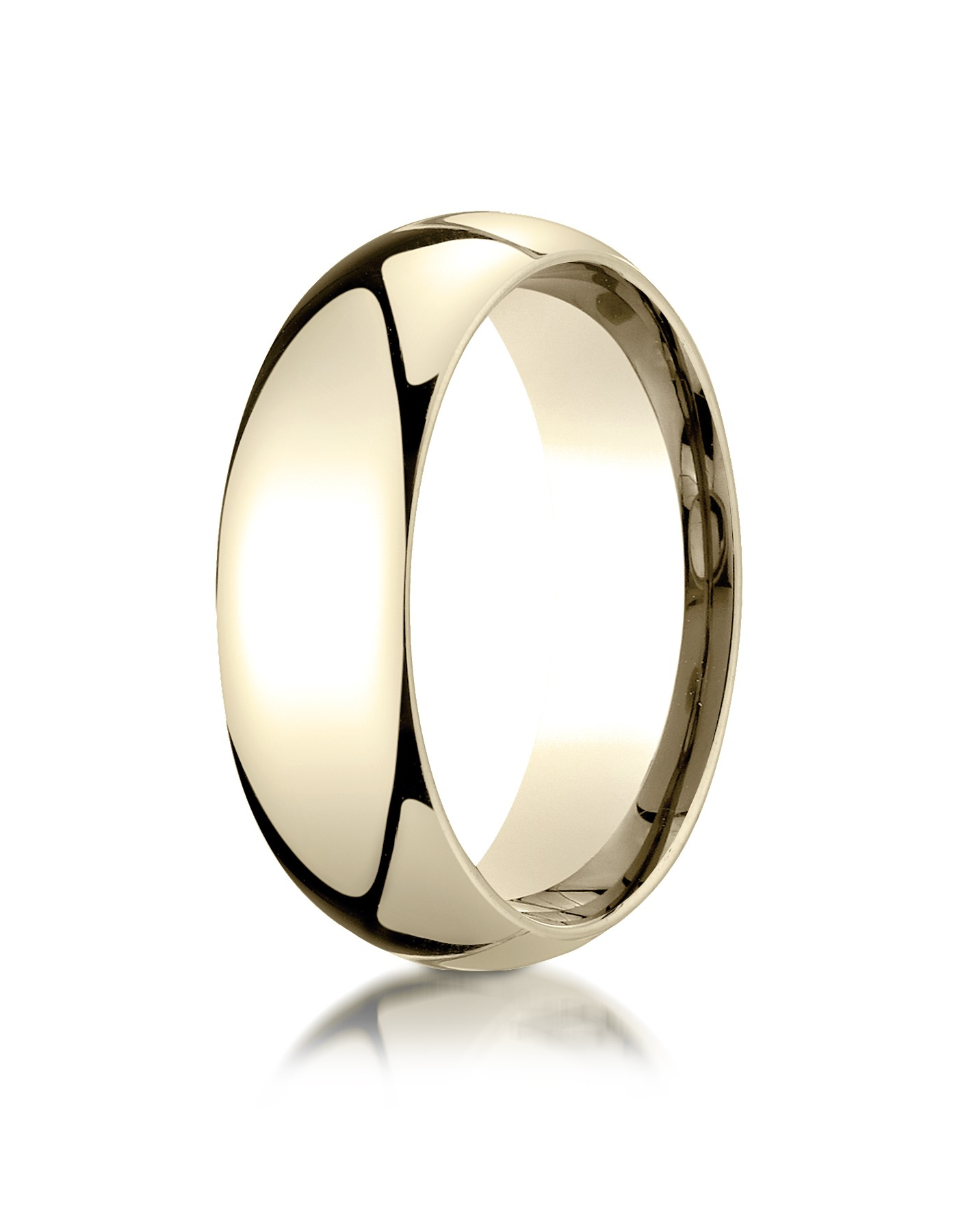 14k Yellow Gold 7mm Slightly Domed Standard Comfort-fit Ring