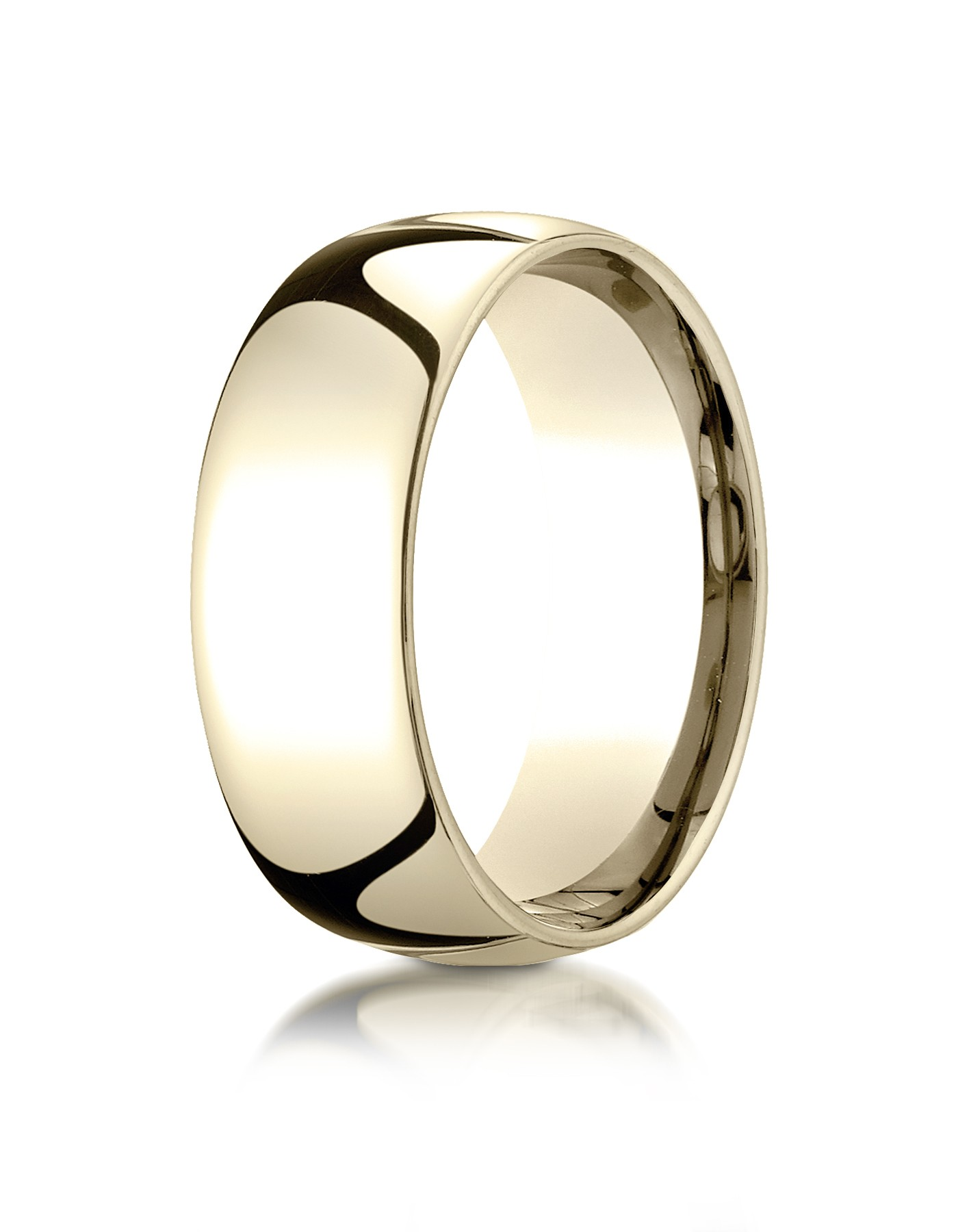 14k Yellow Gold 8mm Slightly Domed Standard Comfort-fit Ring