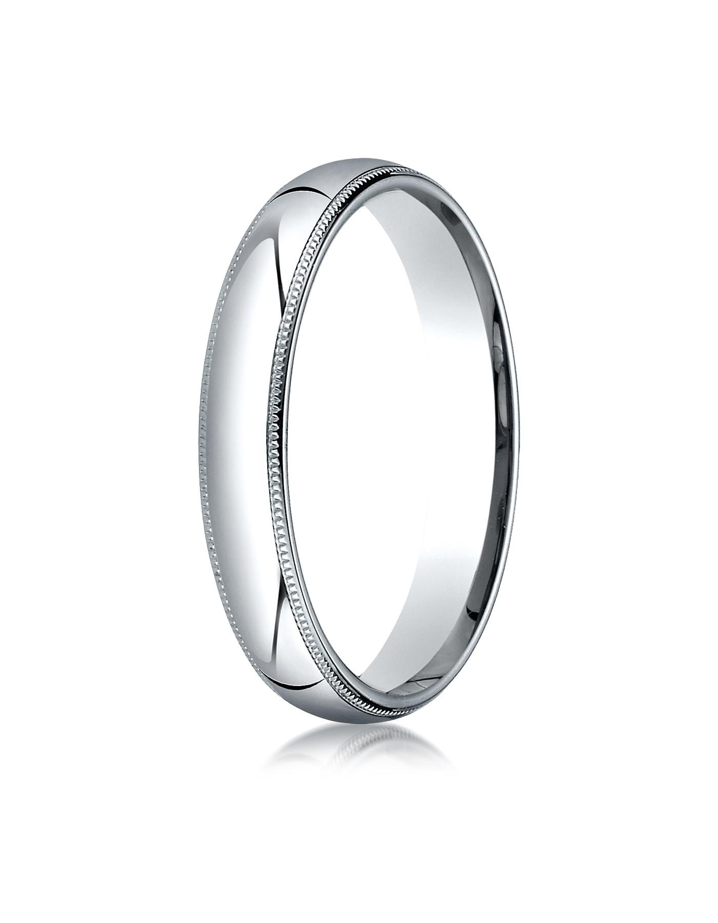 14k White Gold 4mm Slightly Domed Standard Comfort-fit Ring With Milgrain