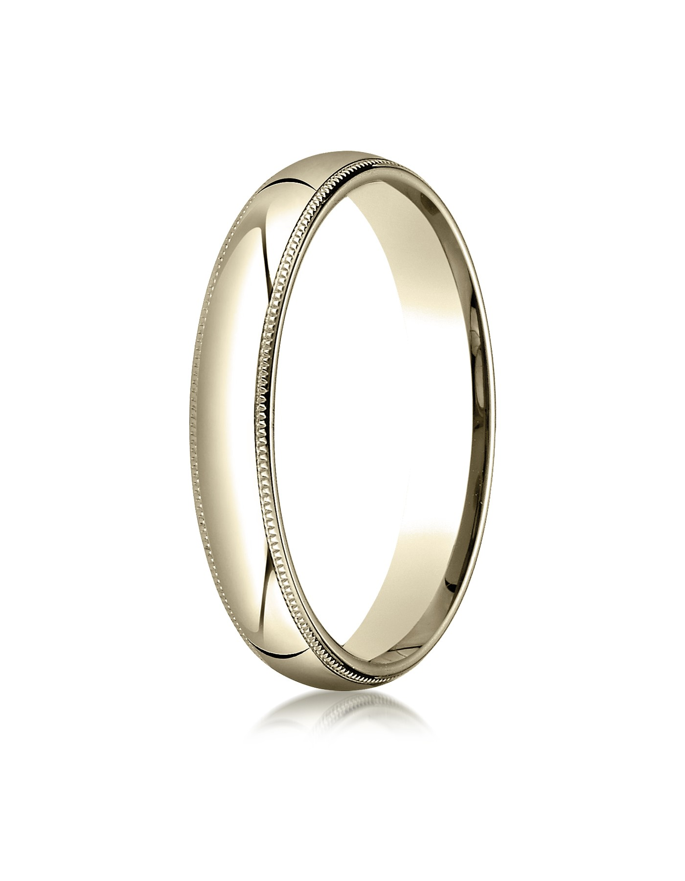 18k Yellow Gold 4mm Slightly Domed Standard Comfort-fit Ring With Milgrain