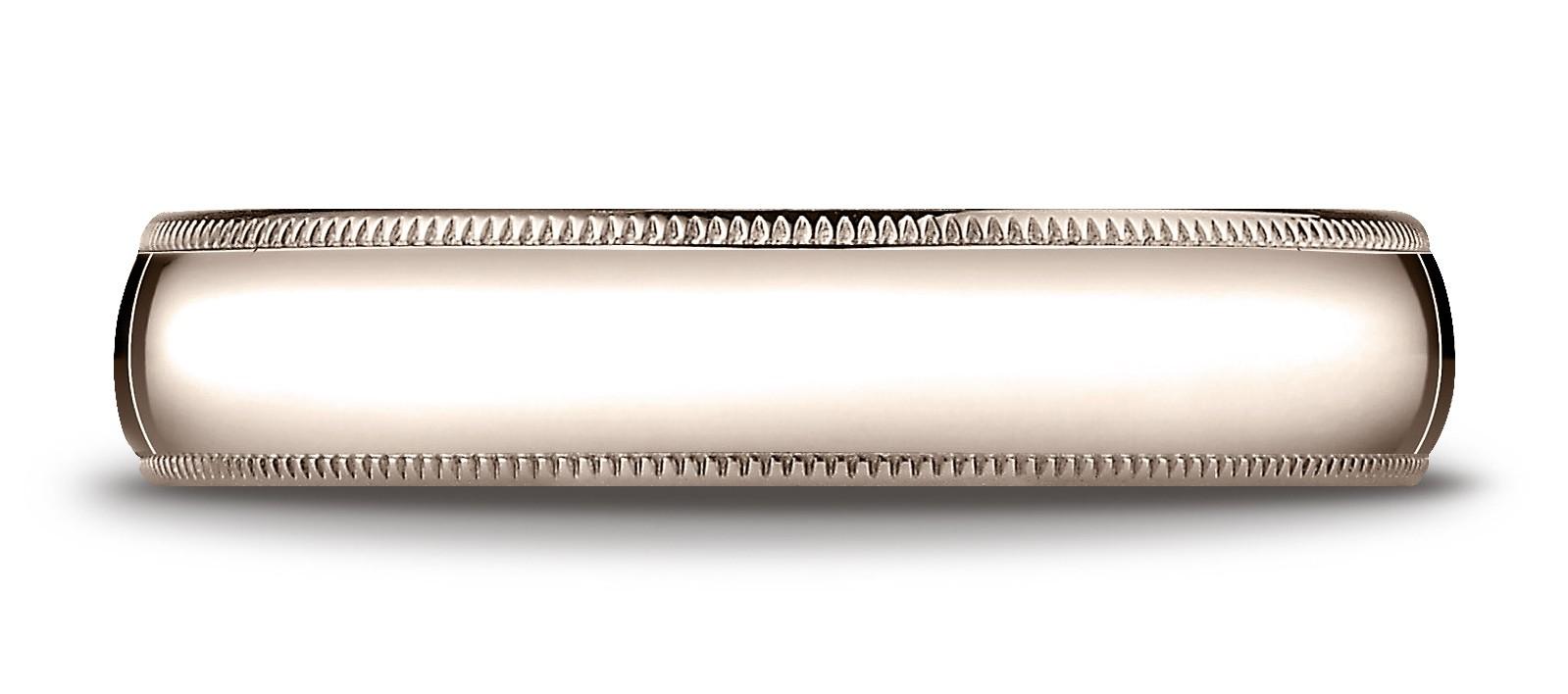 14k Rose Gold 5mm Slightly Domed Standard Comfort-fit Ring With Milgrain