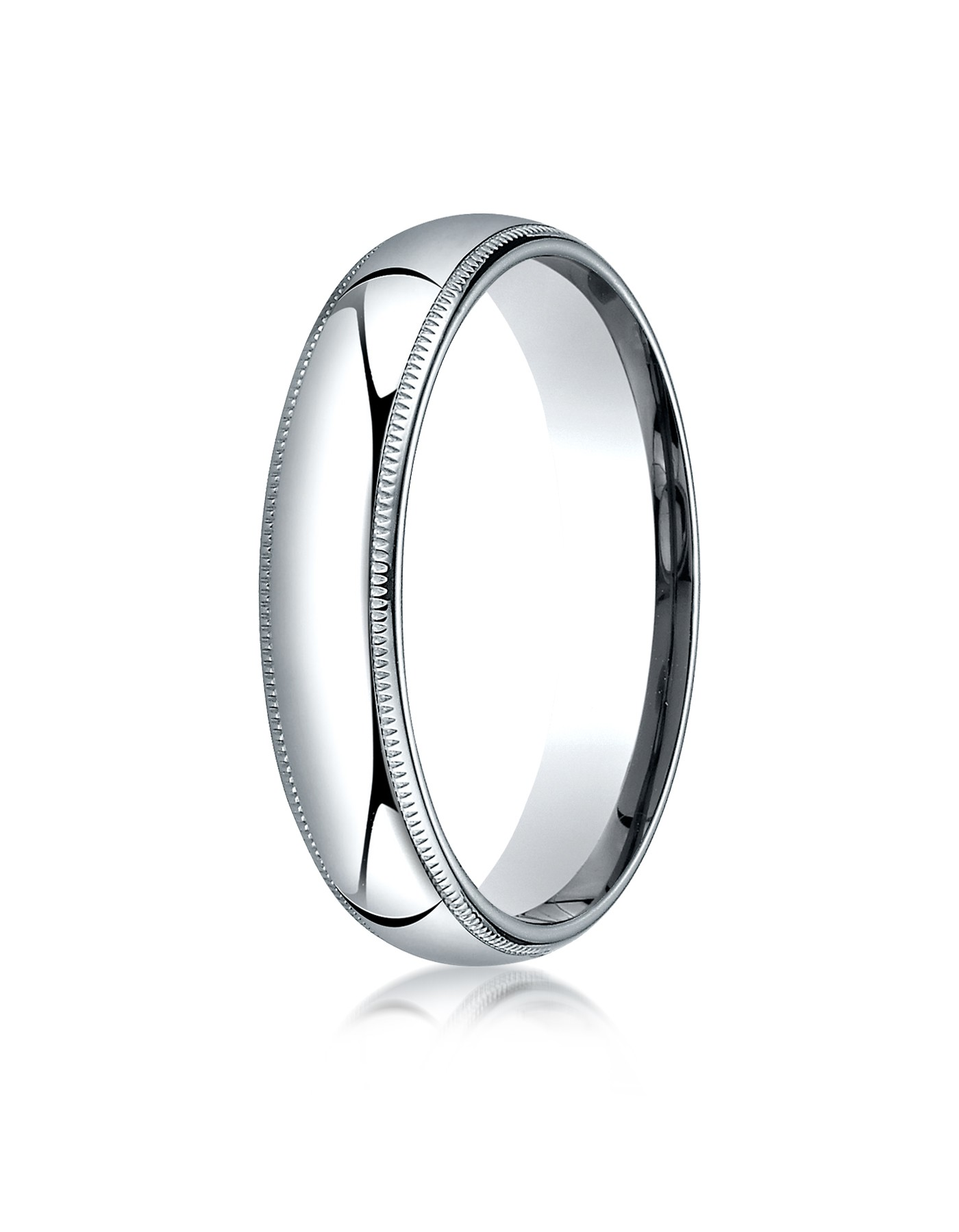 14k White Gold 5mm Slightly Domed Standard Comfort-fit Ring With Milgrain