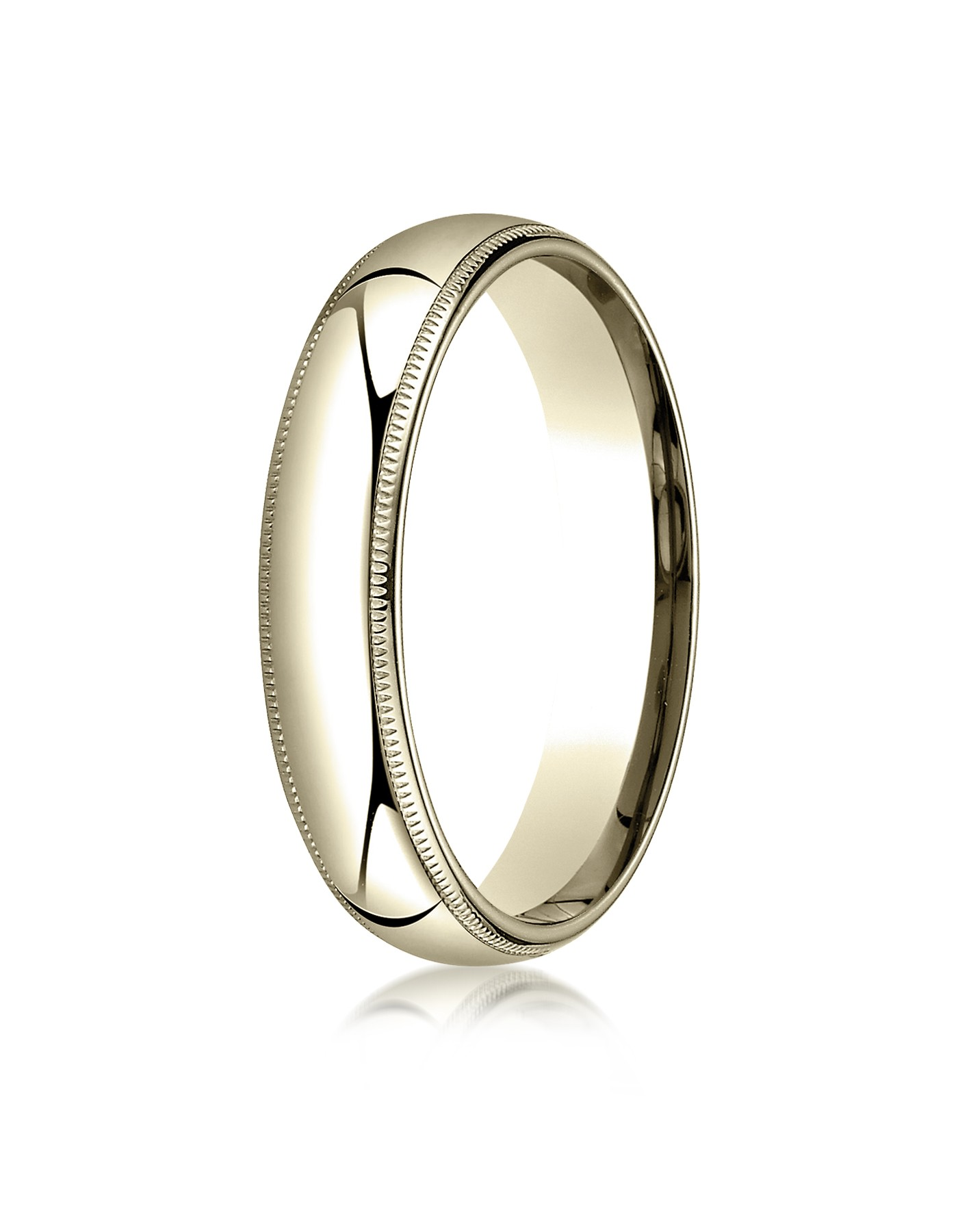 18k Yellow Gold 5mm Slightly Domed Standard Comfort-fit Ring With Milgrain