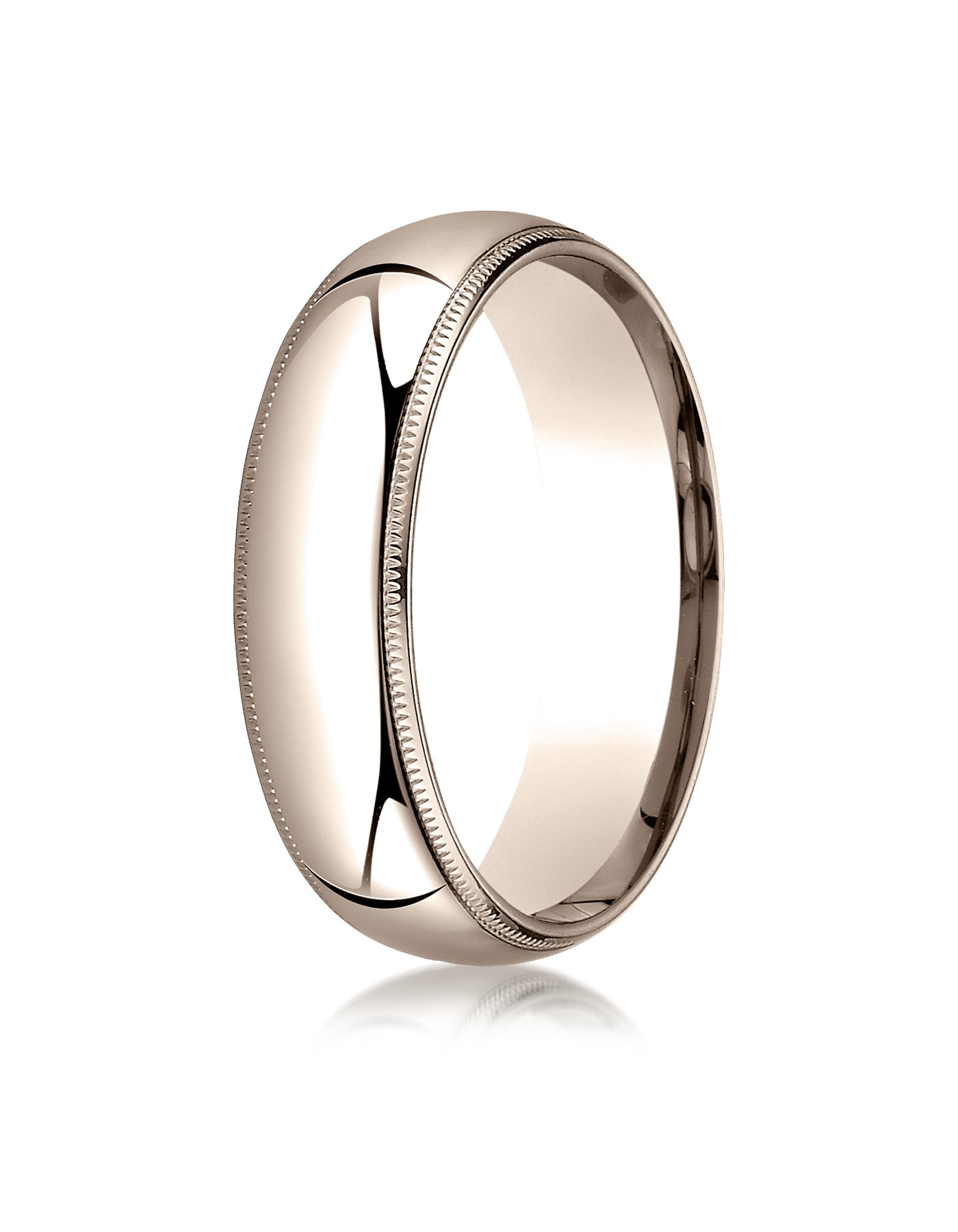 14k Rose Gold 6mm Slightly Domed Standard Comfort-fit Ring With Milgrain
