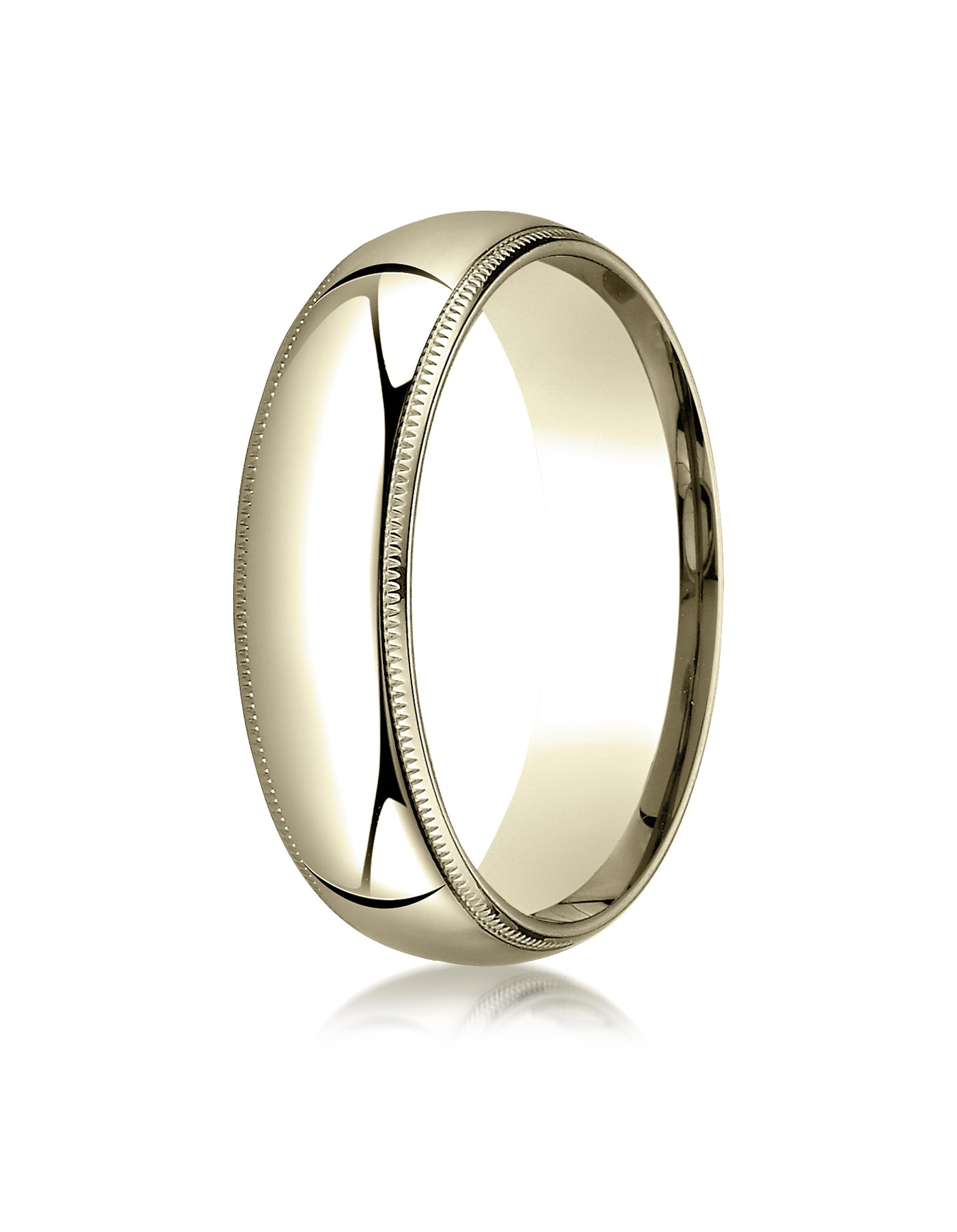 18k Yellow Gold 6mm Slightly Domed Standard Comfort-fit Ring With Milgrain