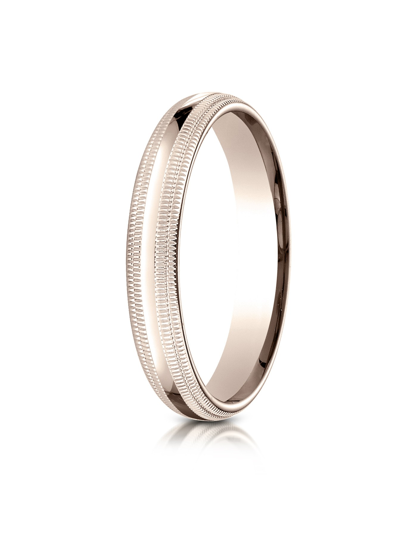 14k Rose Gold 4mm Slightly Domed Standard Comfort-fit Ring With Double Milgrain