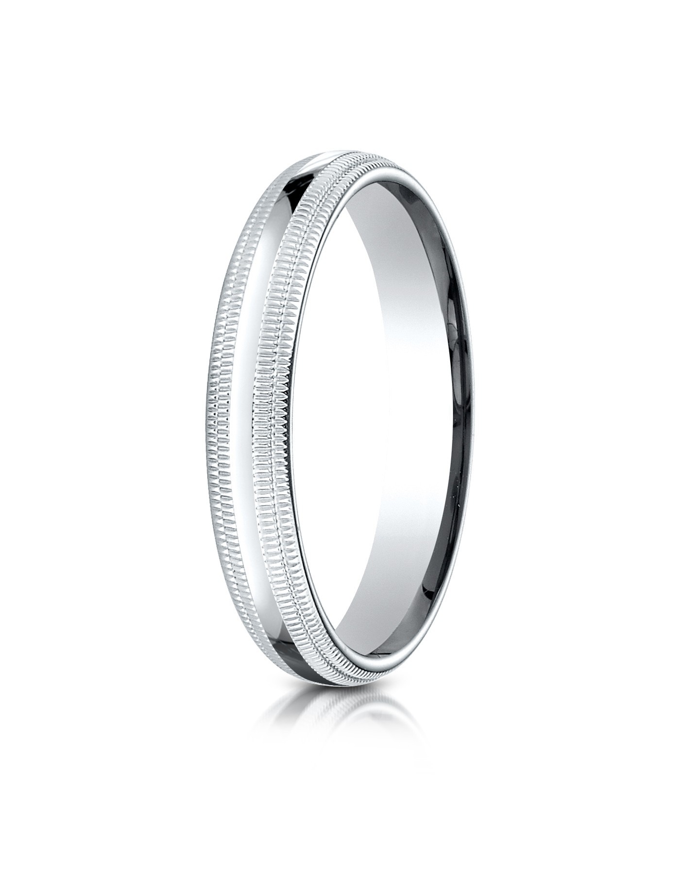 14k White Gold 4mm Slightly Domed Standard Comfort-fit Ring With Double Milgrain