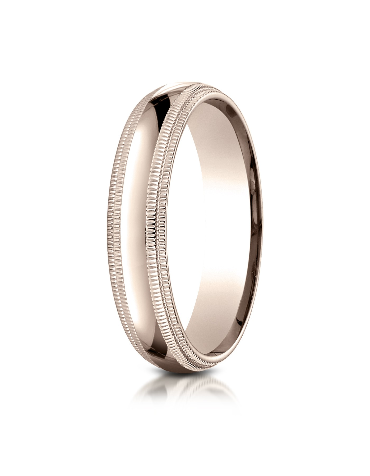 14k Rose Gold 5mm Slightly Domed Standard Comfort-fit Ring With Double Milgrain