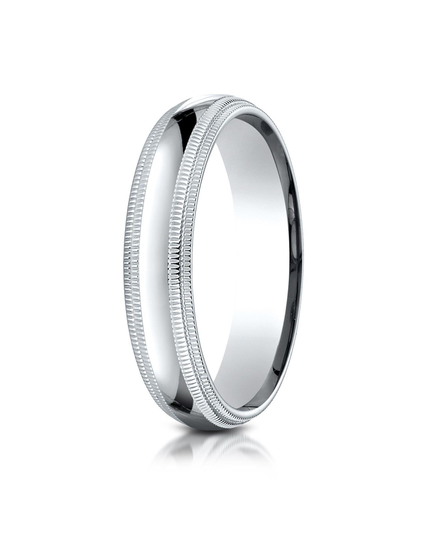14k White Gold 5mm Slightly Domed Standard Comfort-fit Ring With Double Milgrain
