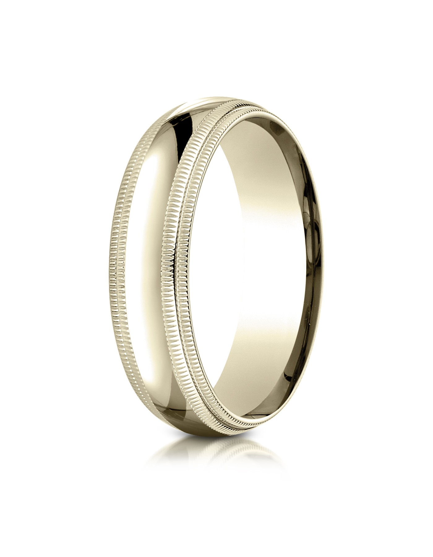 14k Yellow Gold 6mm Slightly Domed Standard Comfort-fit Ring With Double Milgrain