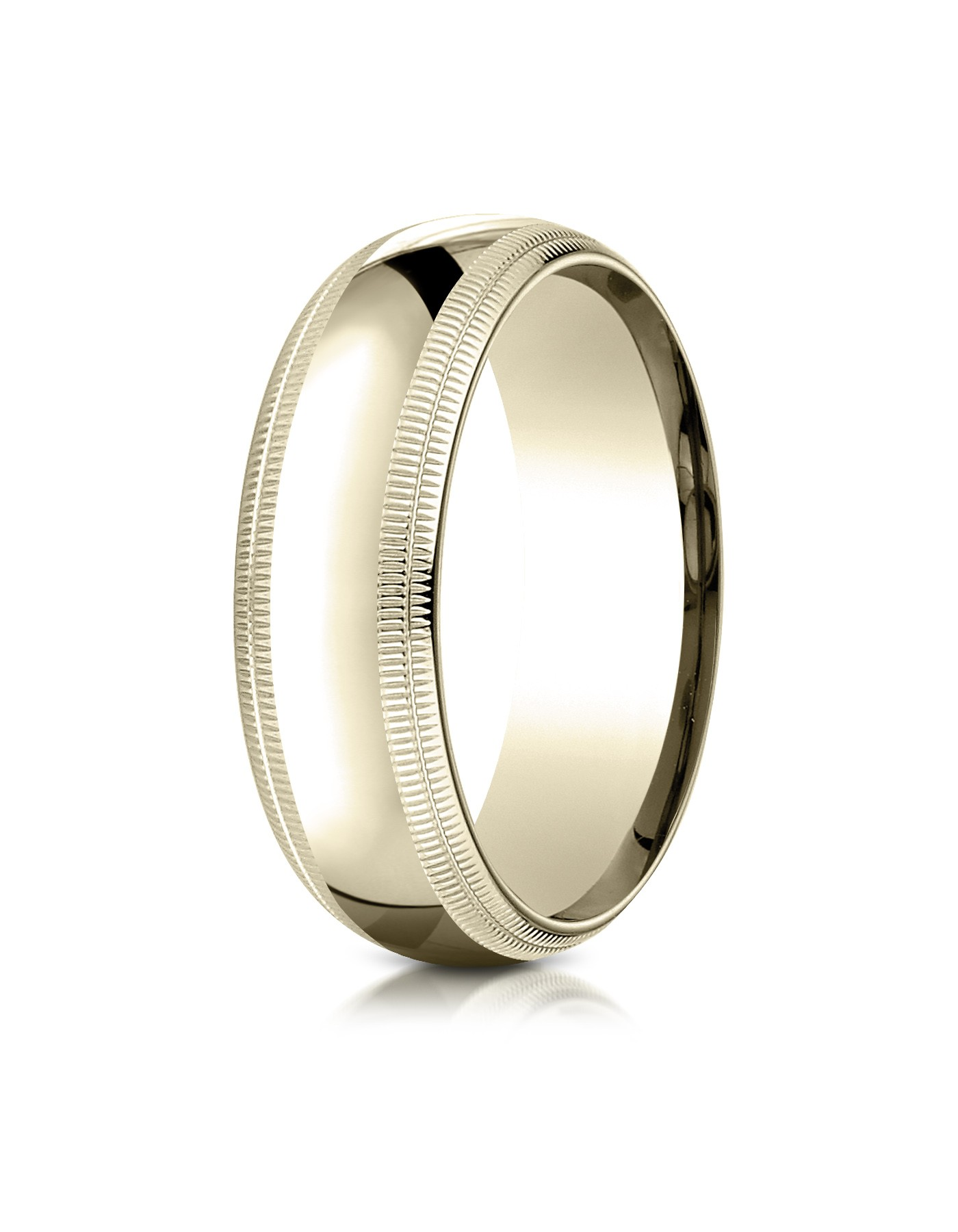 14k Yellow Gold 7mm Slightly Domed Standard Comfort-fit Ring With Double Milgrain